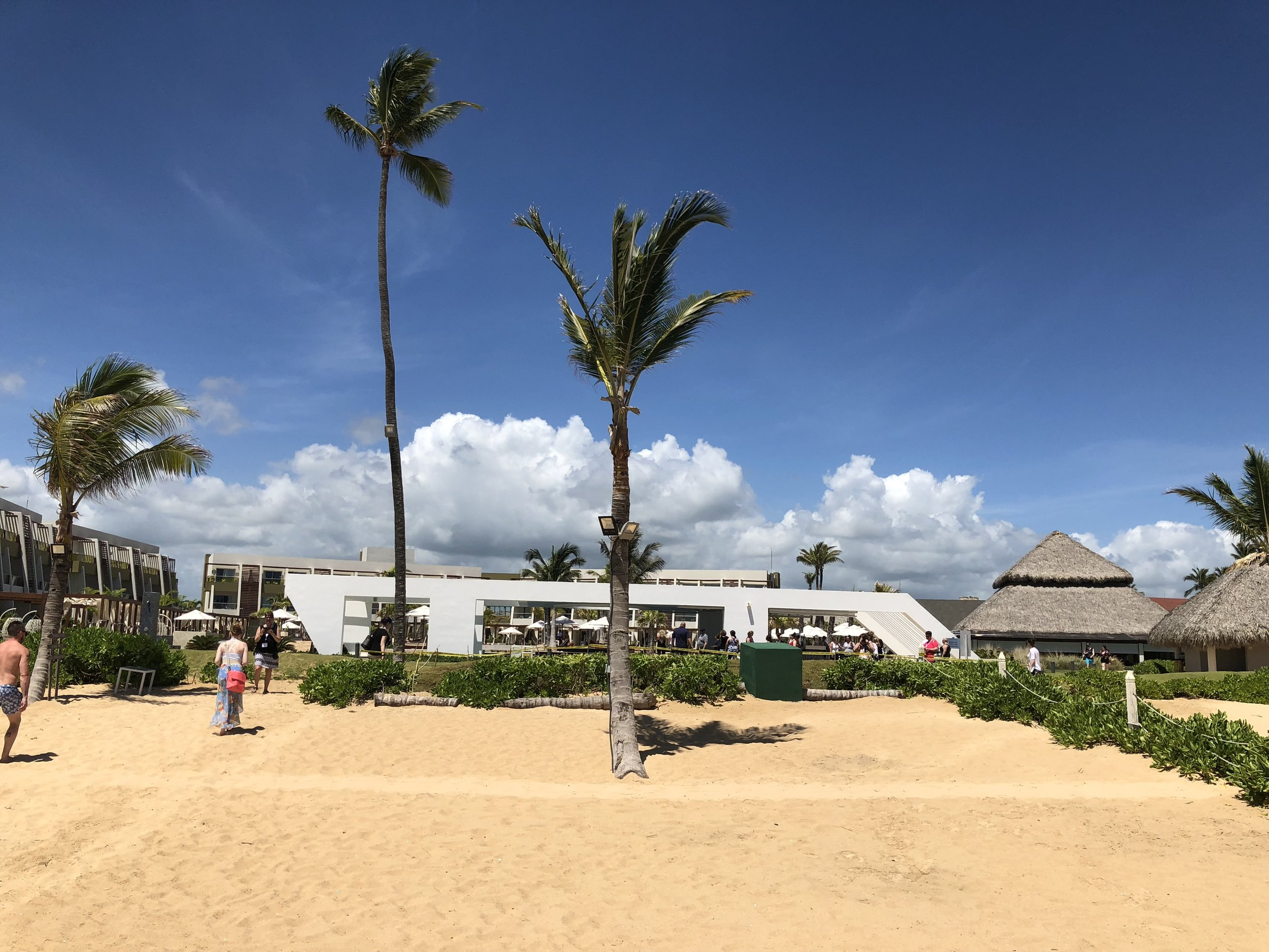 A view of the pool area from the beach.