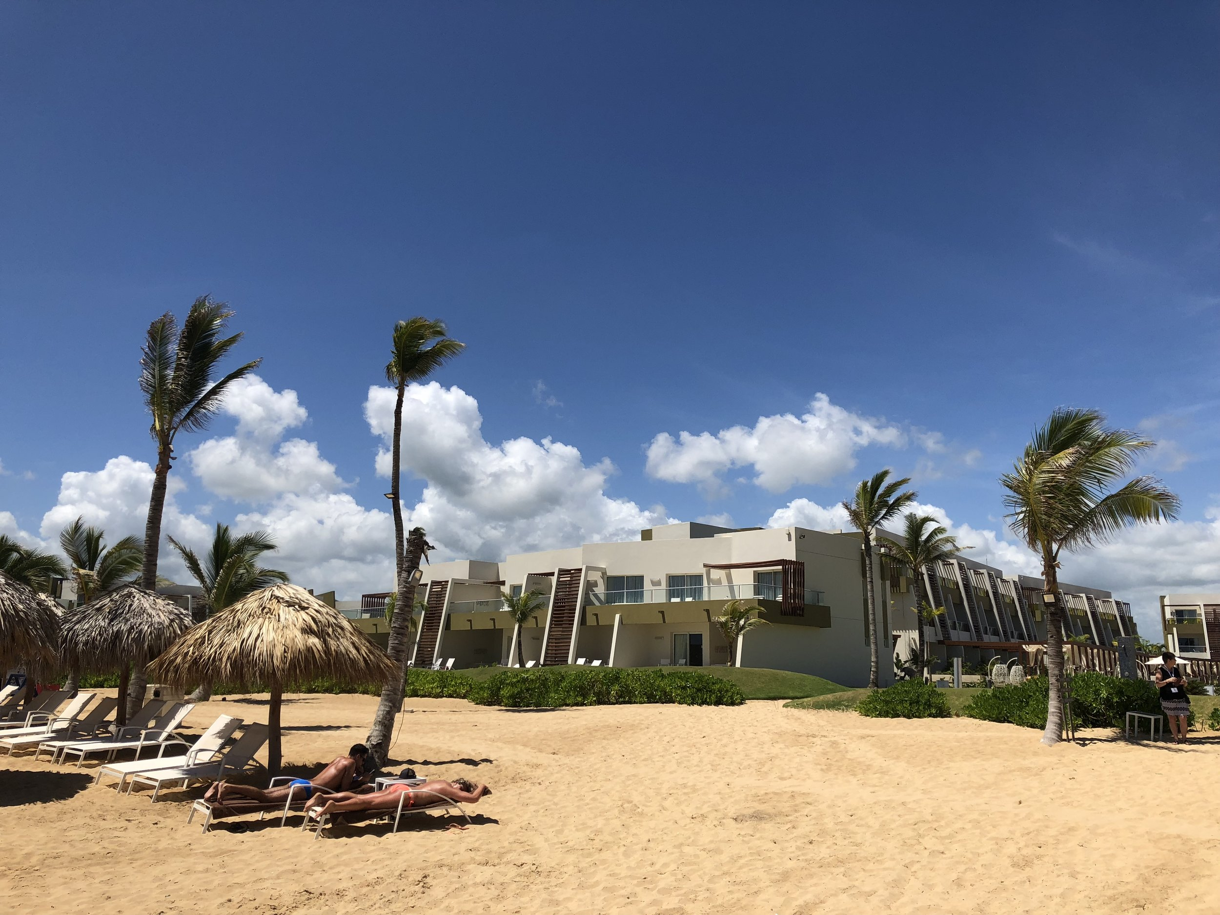 A view of one side of the resort from the beach.