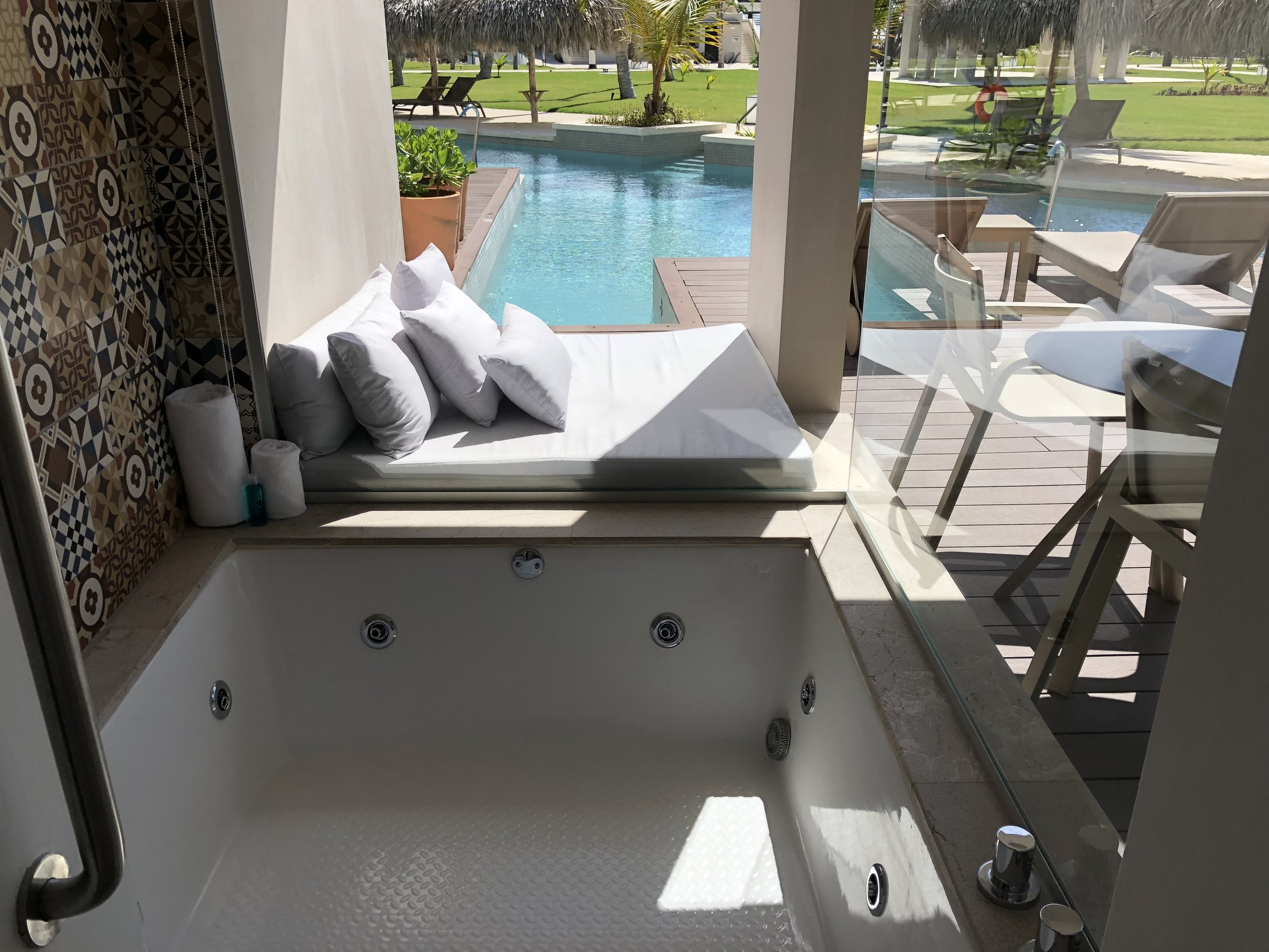 Room Type: Junior Swim up Suite with Deck  Jacuzzi tub is located on the patio.