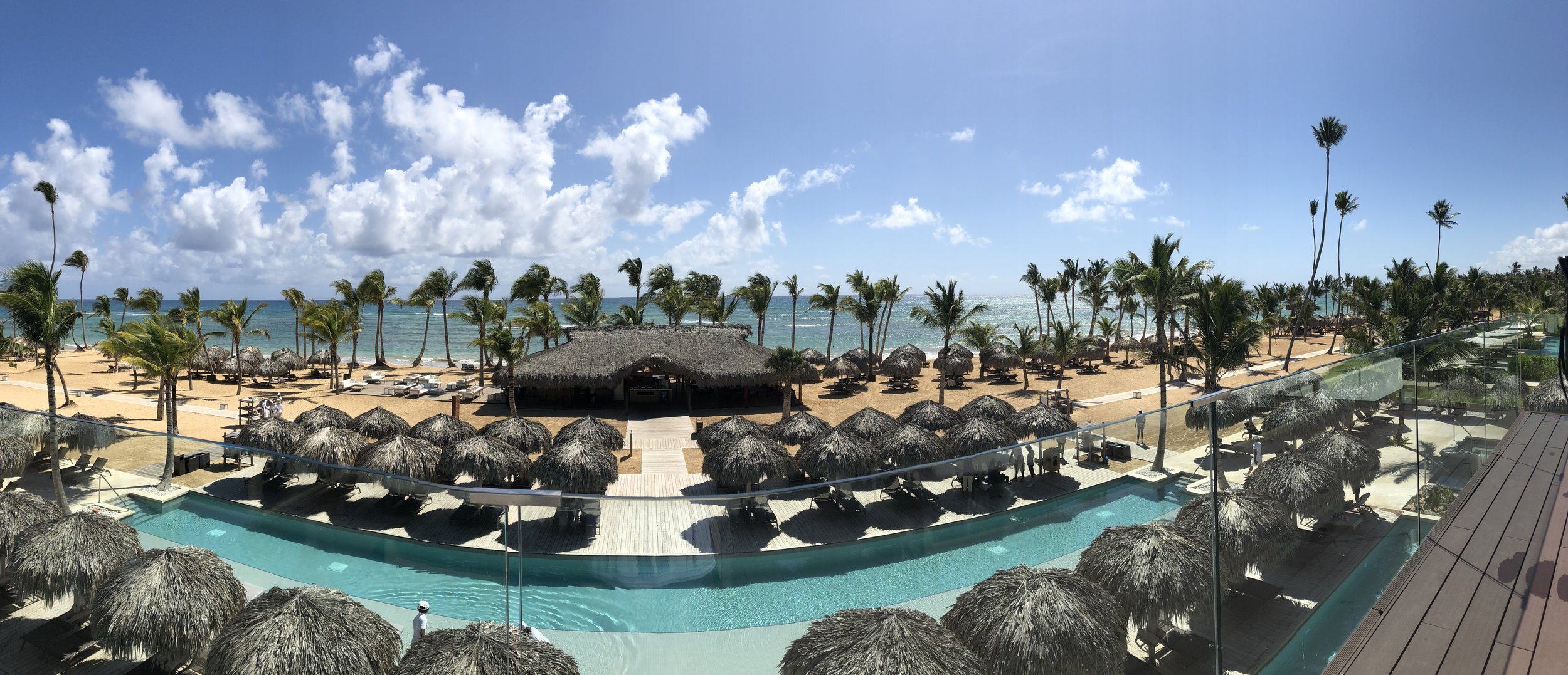 The view from the sun bathing deck atop the beach side restaurant.