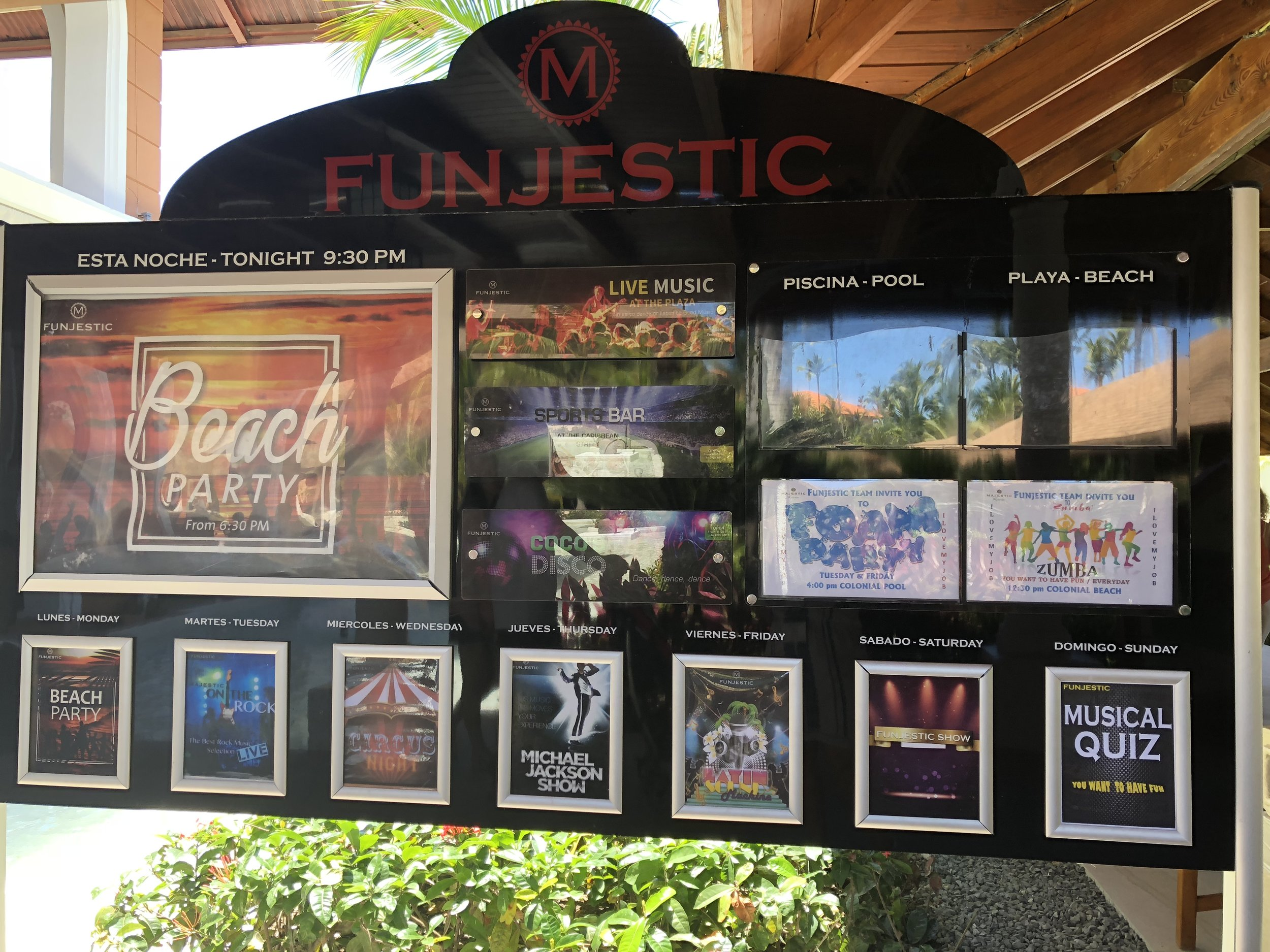 The Funjestic board is located throughout the resort and let you know about the activities and shows.