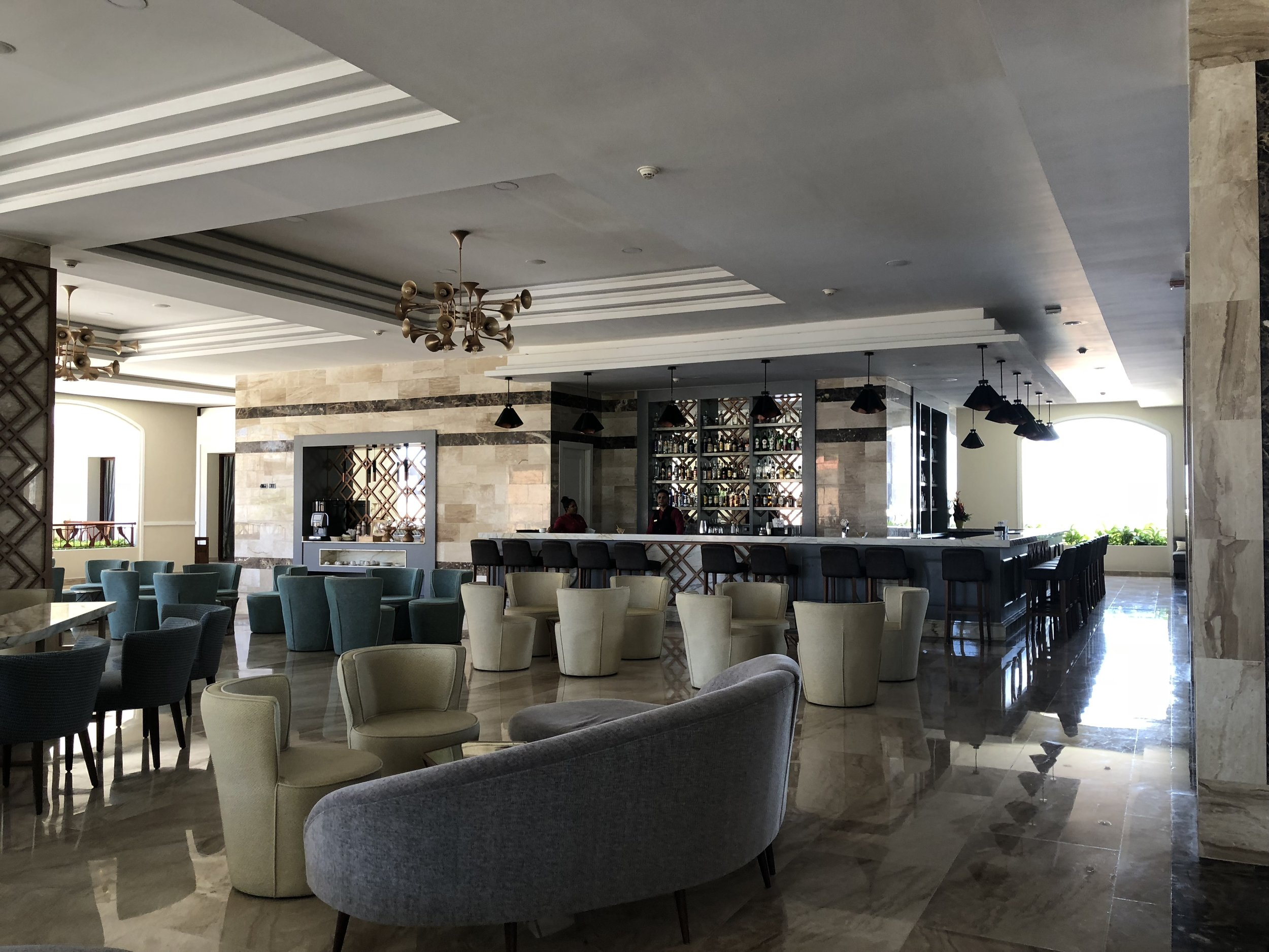 Right side of the main upper lobby sitting area.