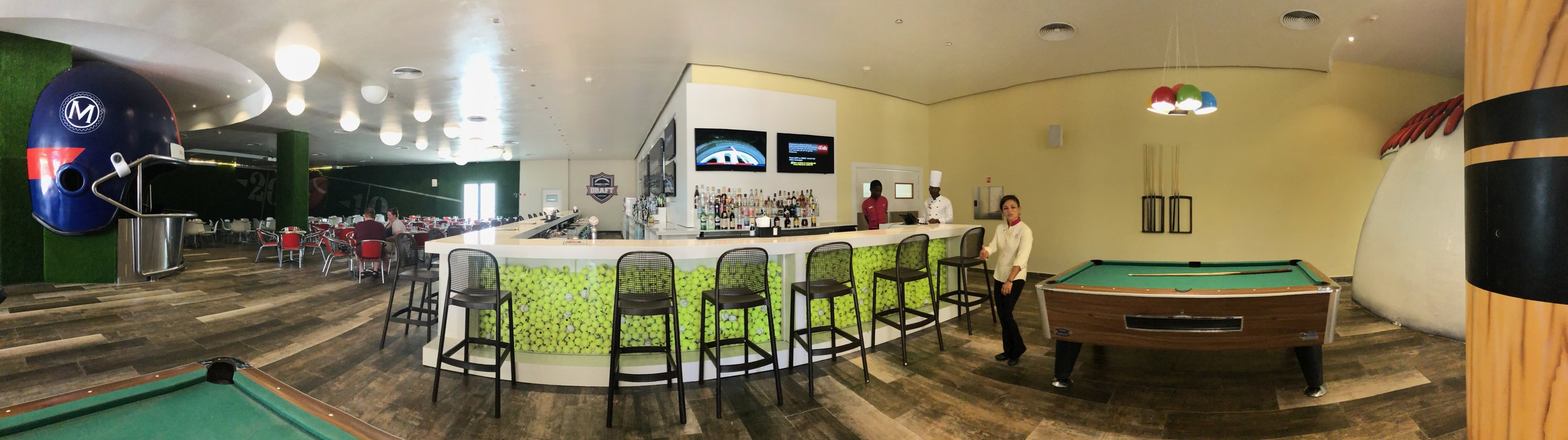 A complete view of the interior of the sports bar.
