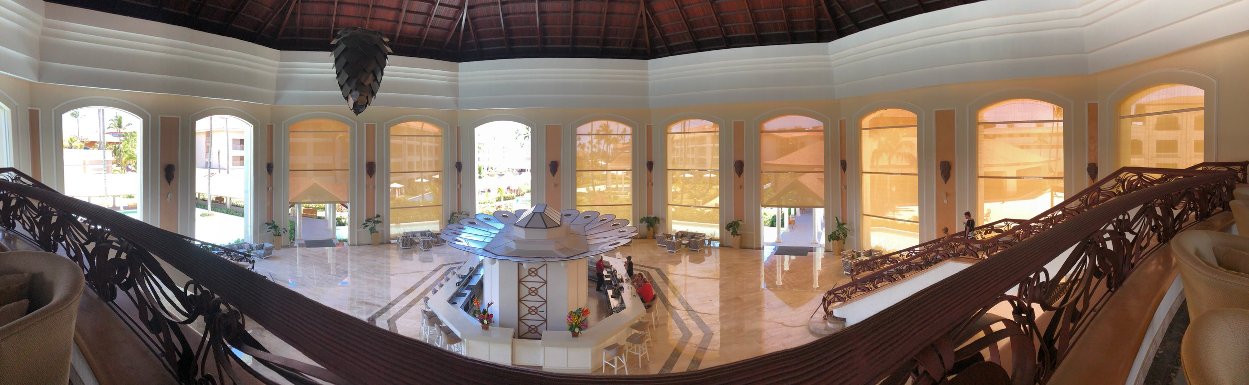 A view of the entire main lower lobby and bar.