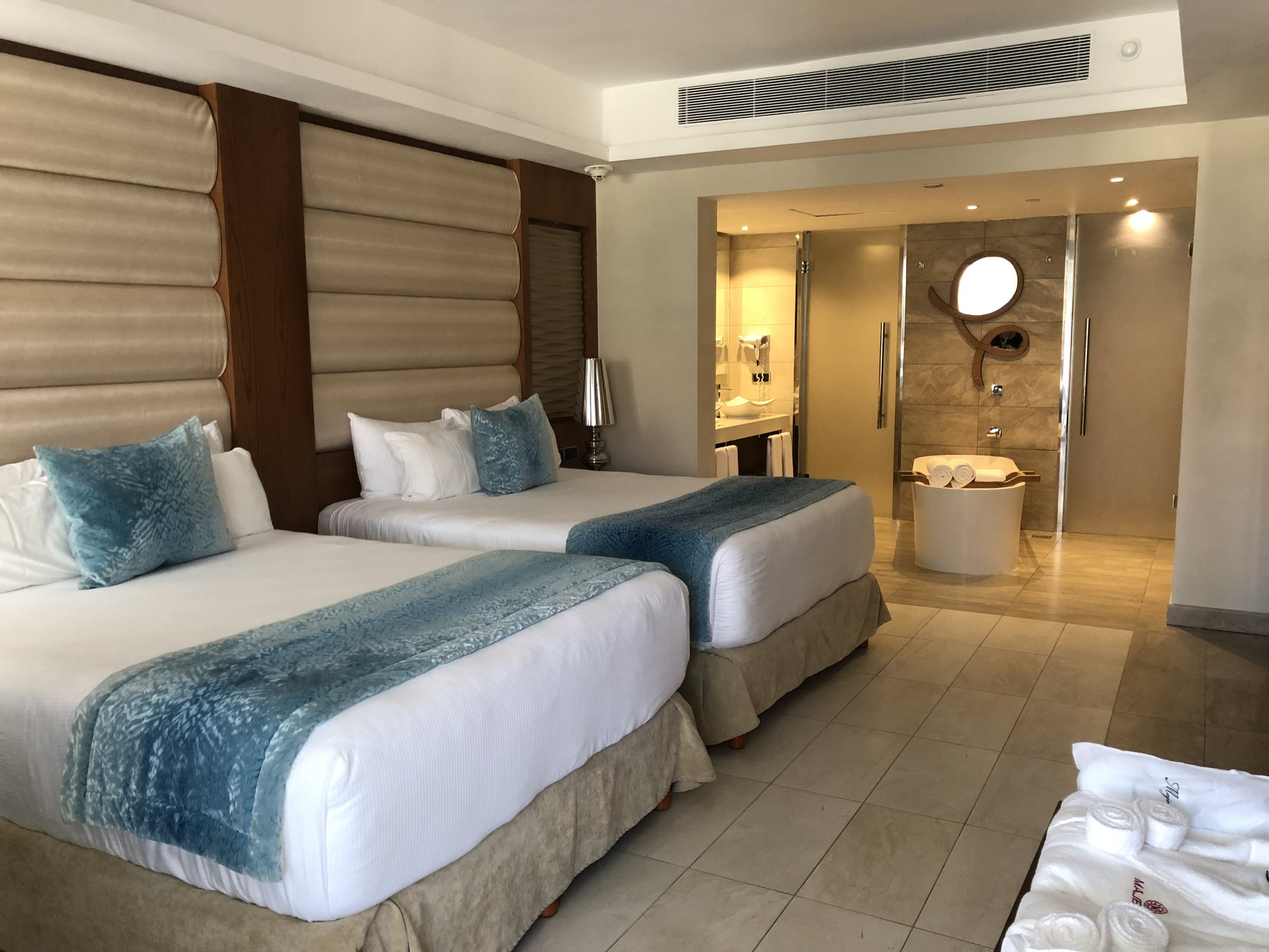 Room Type: One Bedroom Suite with outdoor Jacuzzi.  Two queen beds, robes, huge bathroom, all part one of your suite.