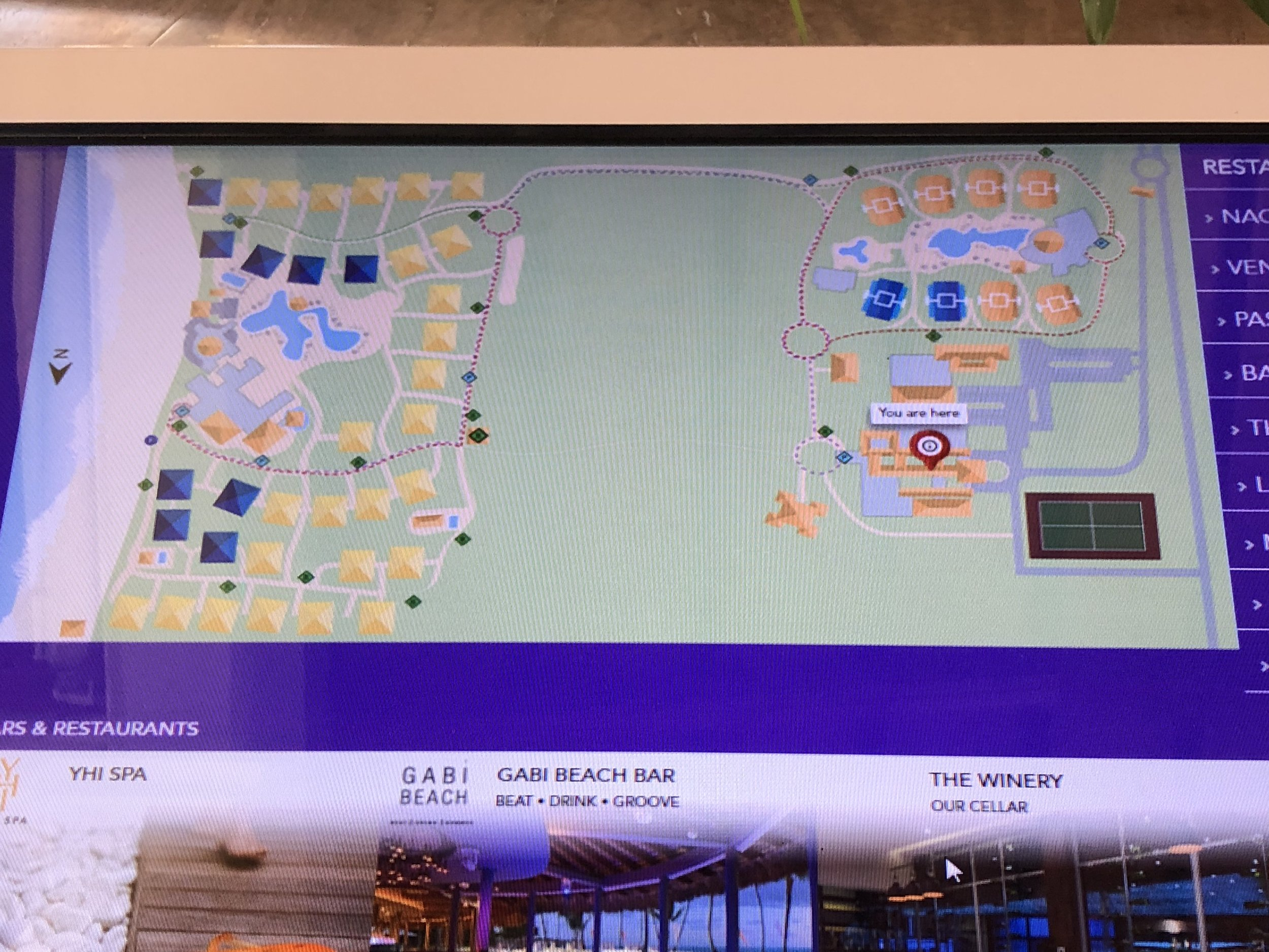 Digital resort maps located throughout the resort.M