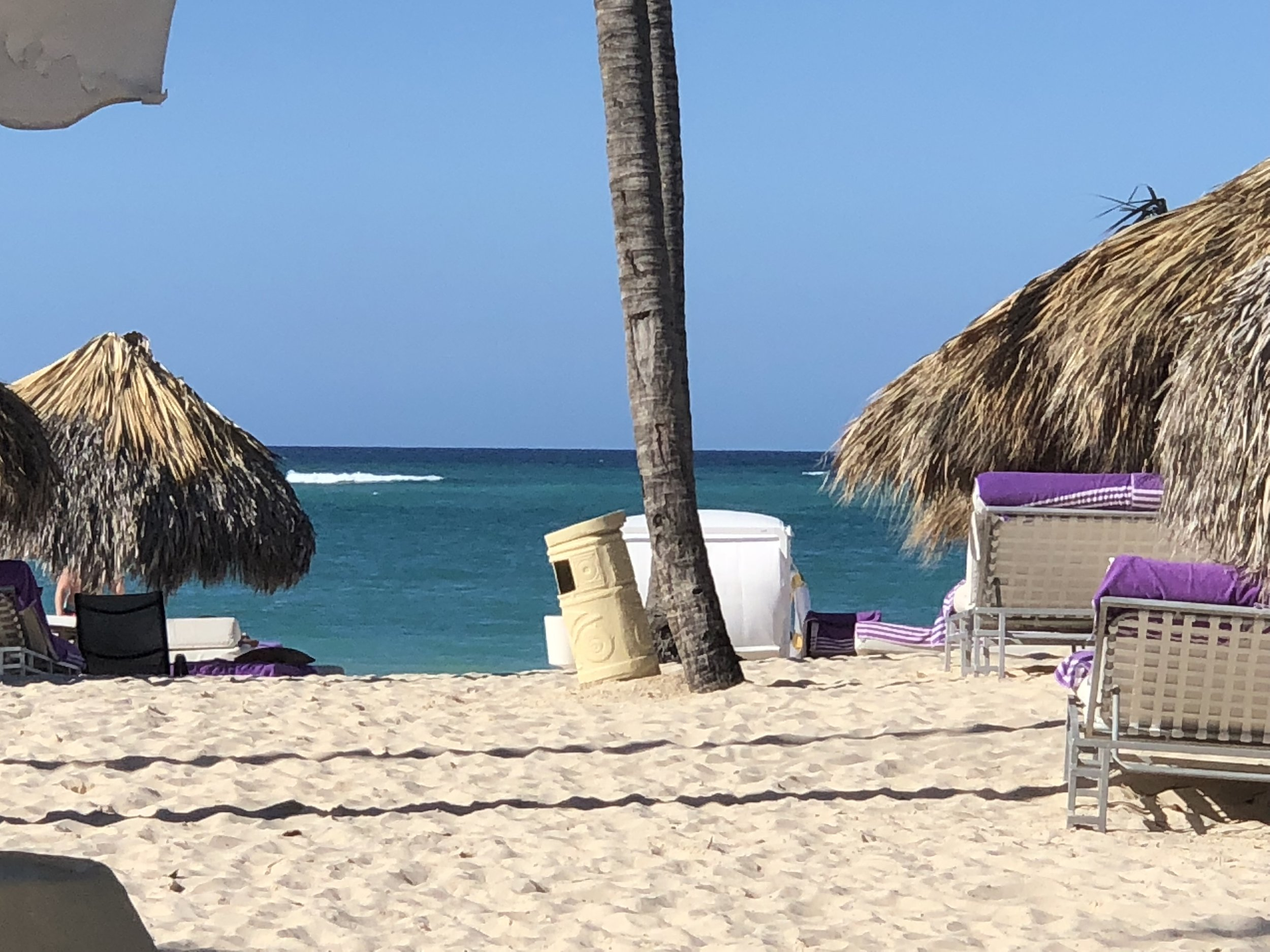 Various seating available on the beach.