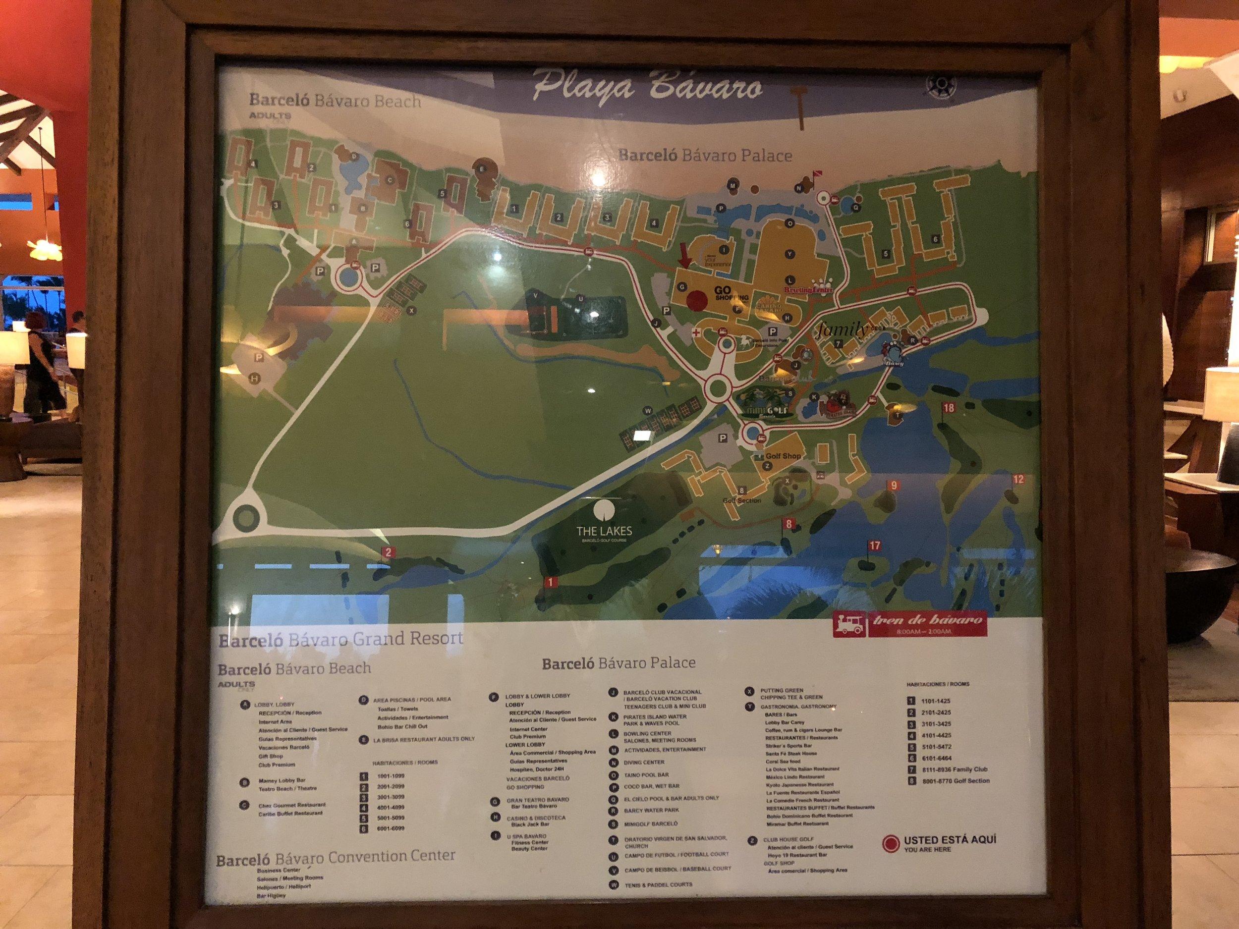Resort maps located along both properties.