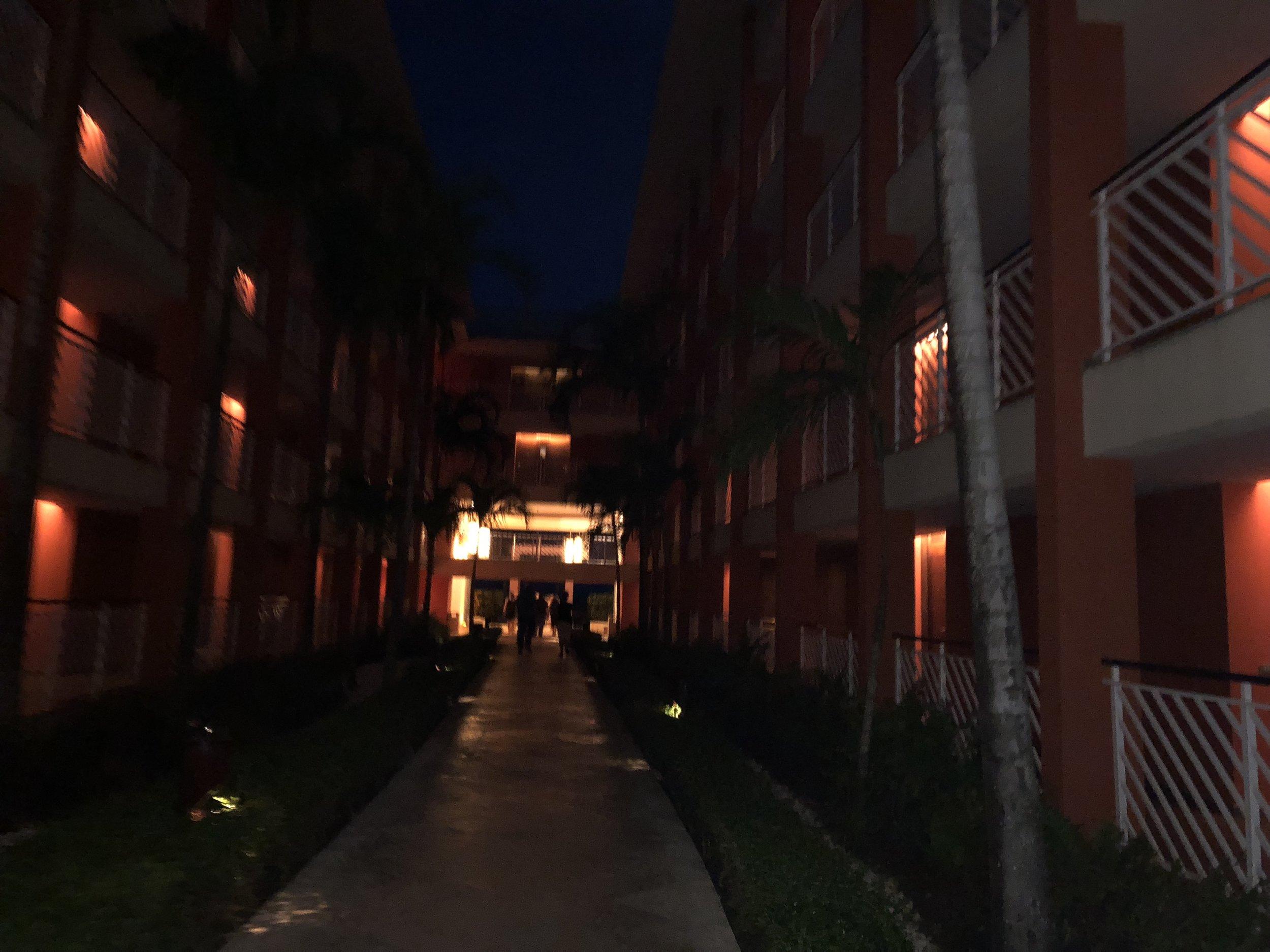 Walking through the resort.