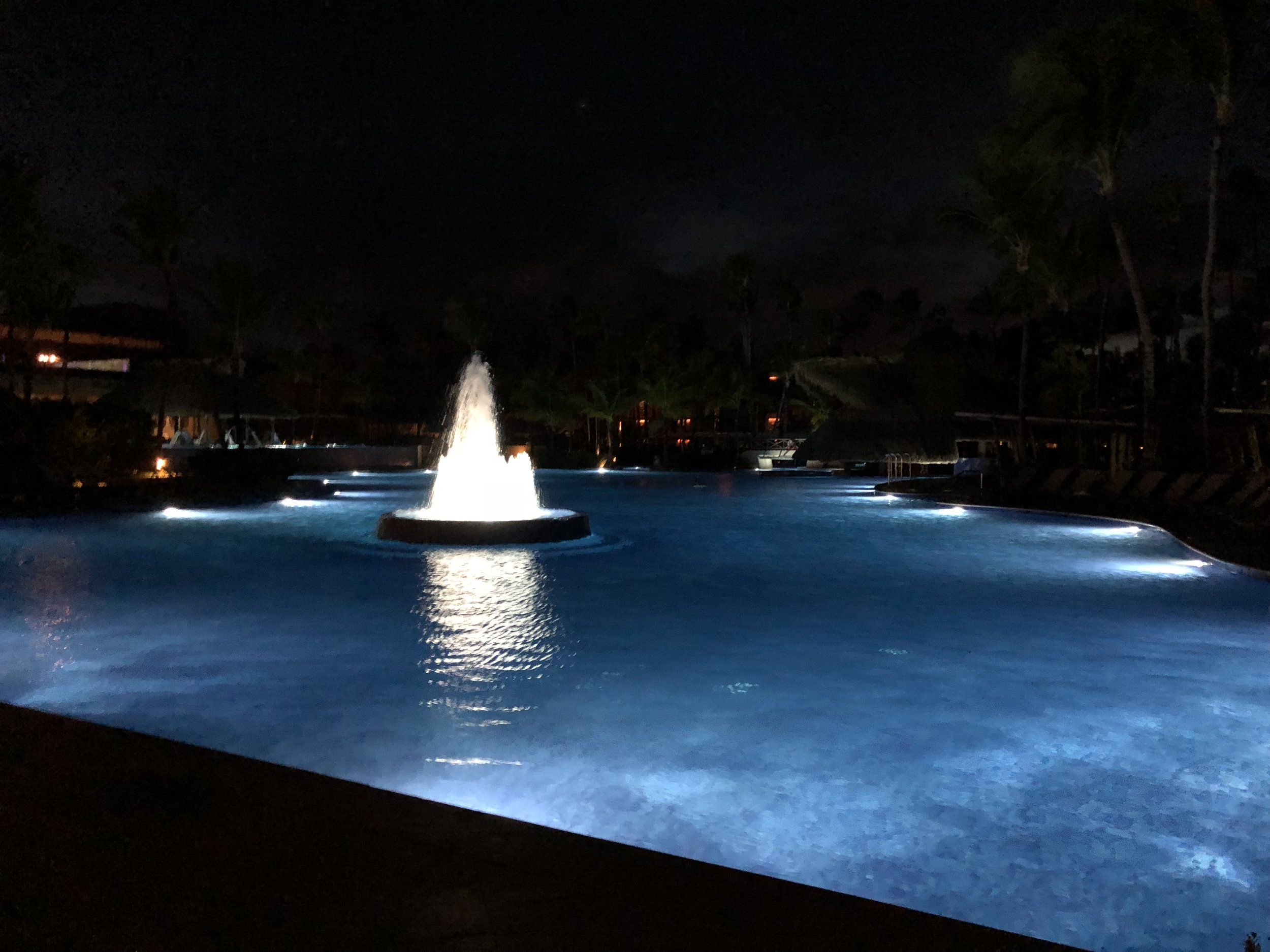 Fountains in the pool.