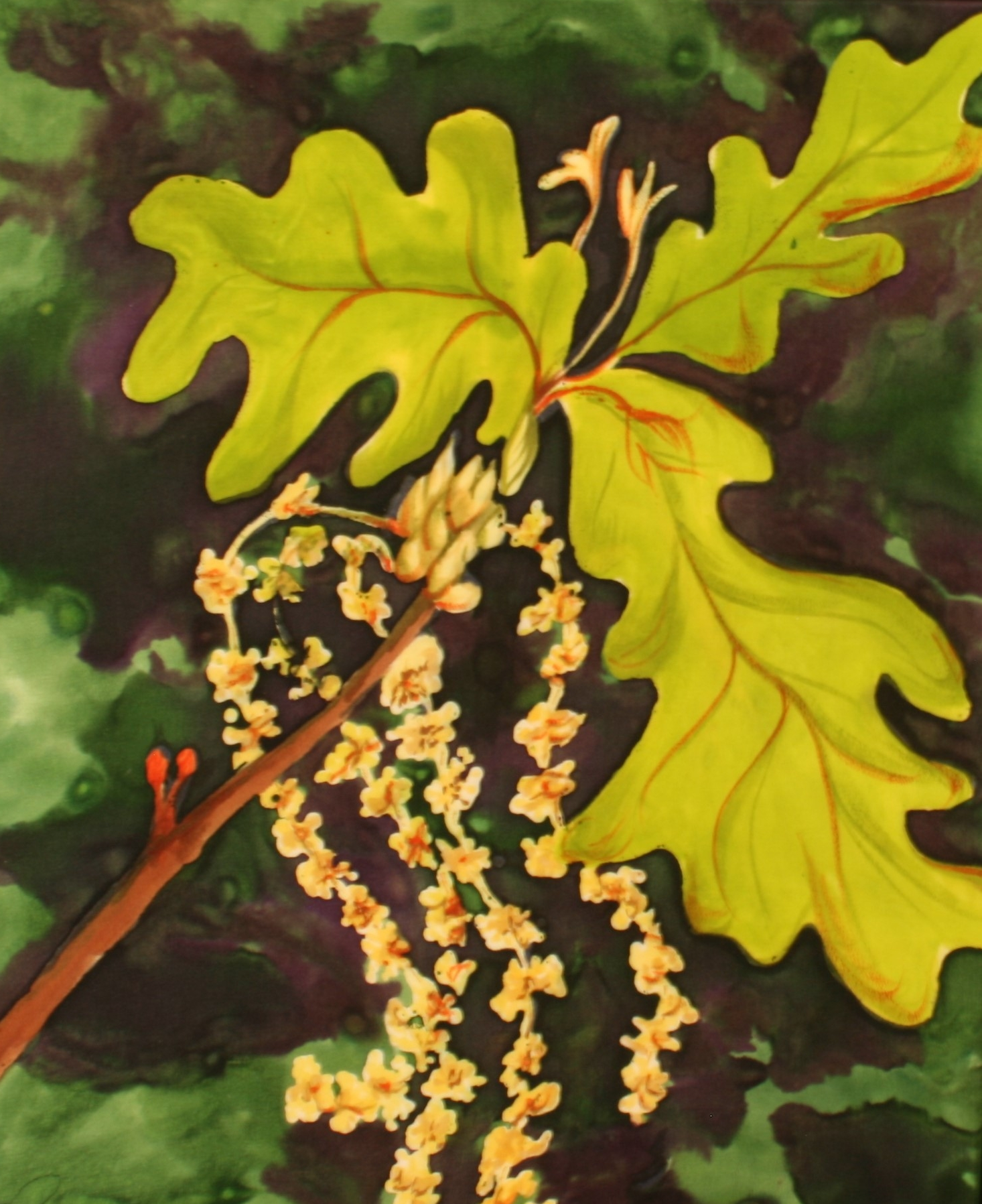WHITE OAK FLOWERS 10x12  $175.00 French Dyes on silk                           BUY NOW