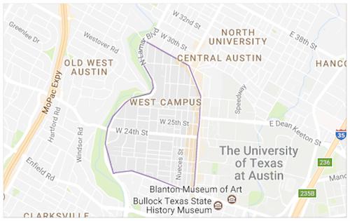 UT West Campus Condo Map