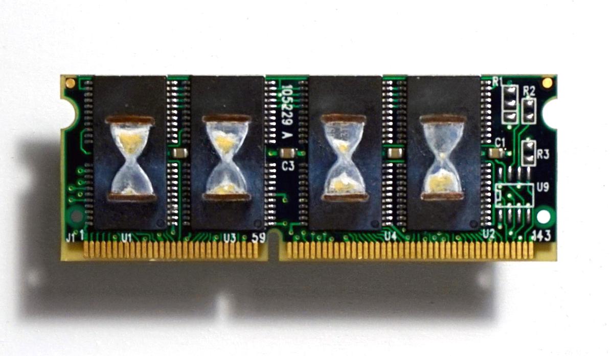 Hourglass , Oil on RAM memory stick, 3 x 8 cm, 2016