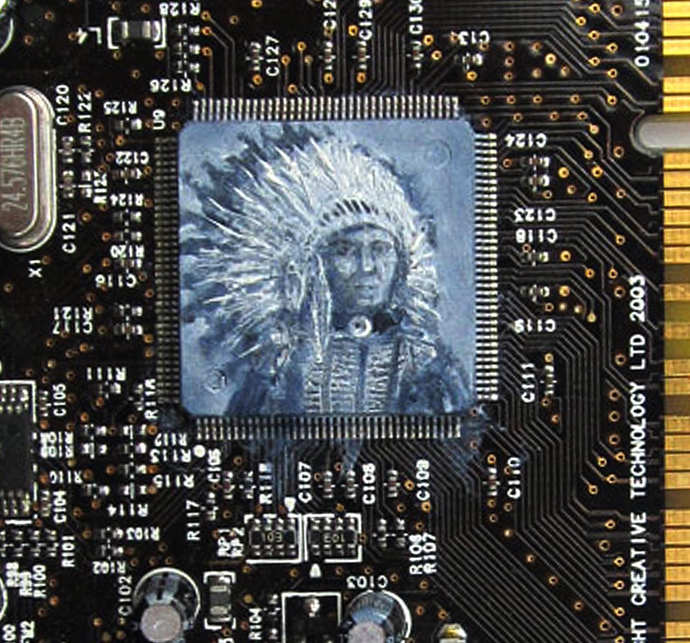 Chief , Oil on circuit board, 20 x 8 cm, 2014