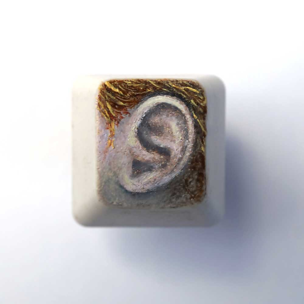 Hear Key,  Oil painting on computer key, 2 x 2 cm, 2017