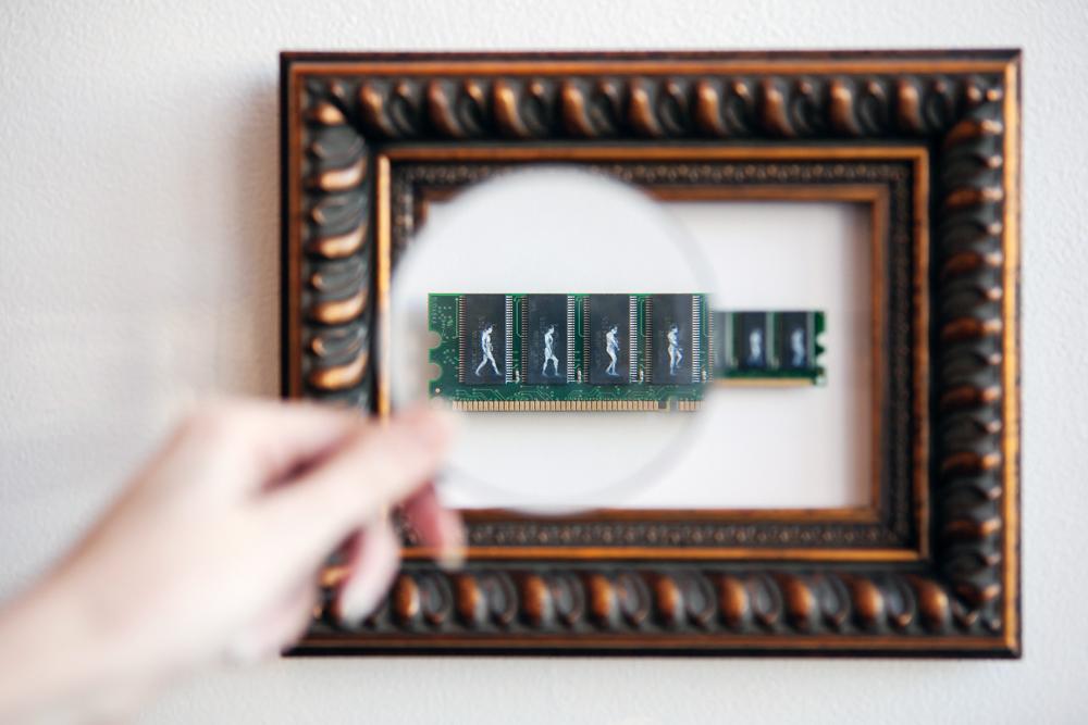 Powerwalk,  Oil on RAM memory stick, 2011