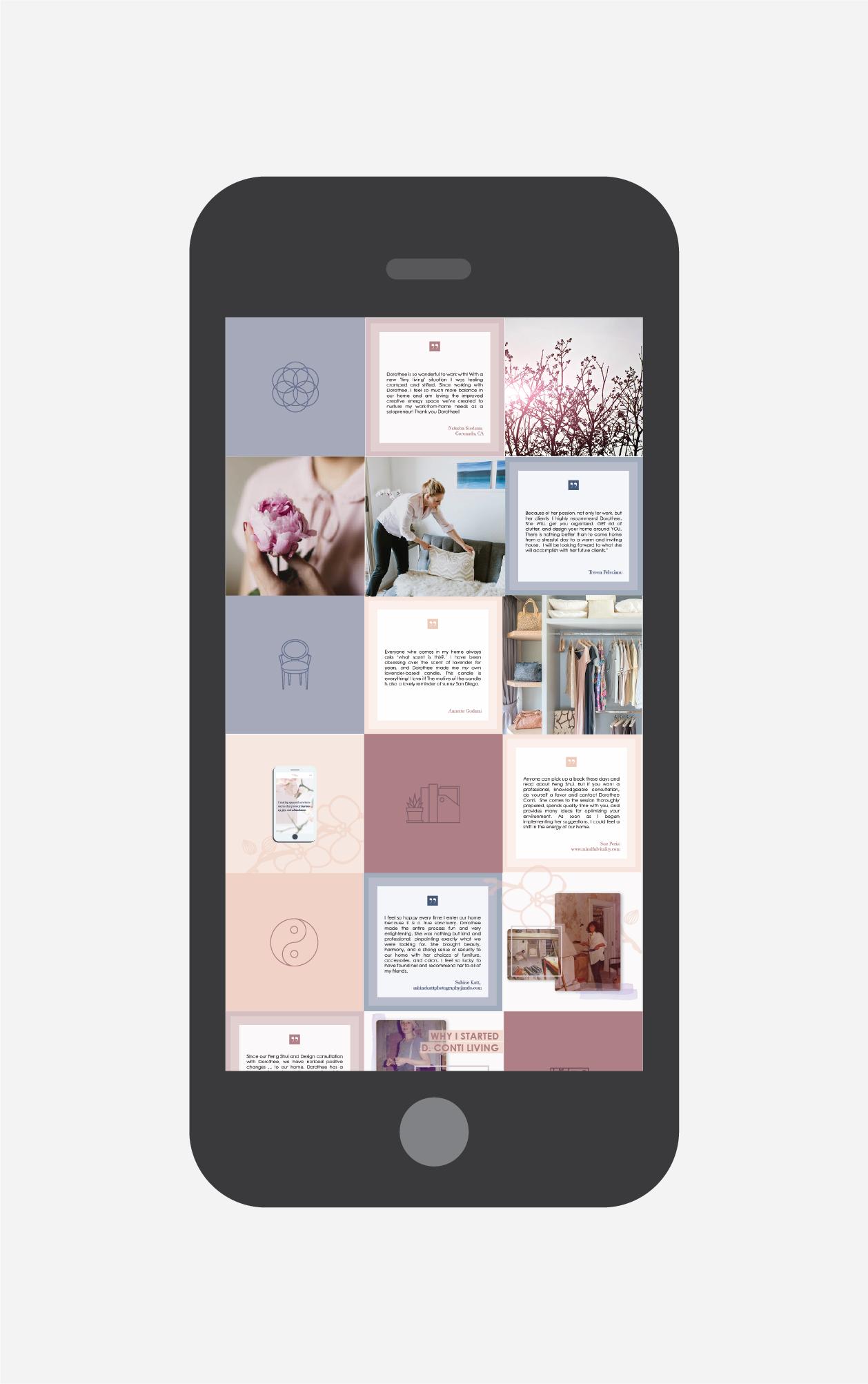 d conti living social media grid design