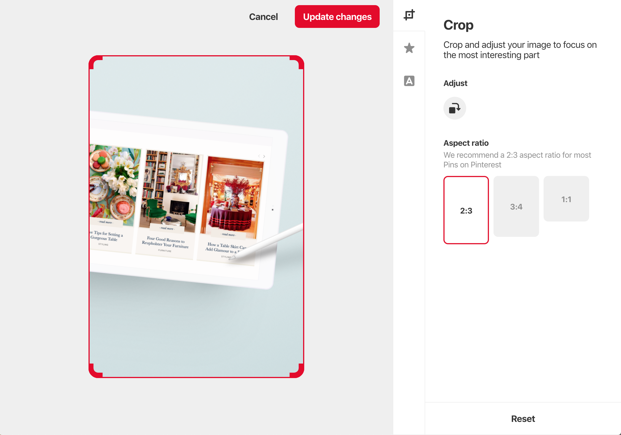 how to crop images for pinterest in pinterest