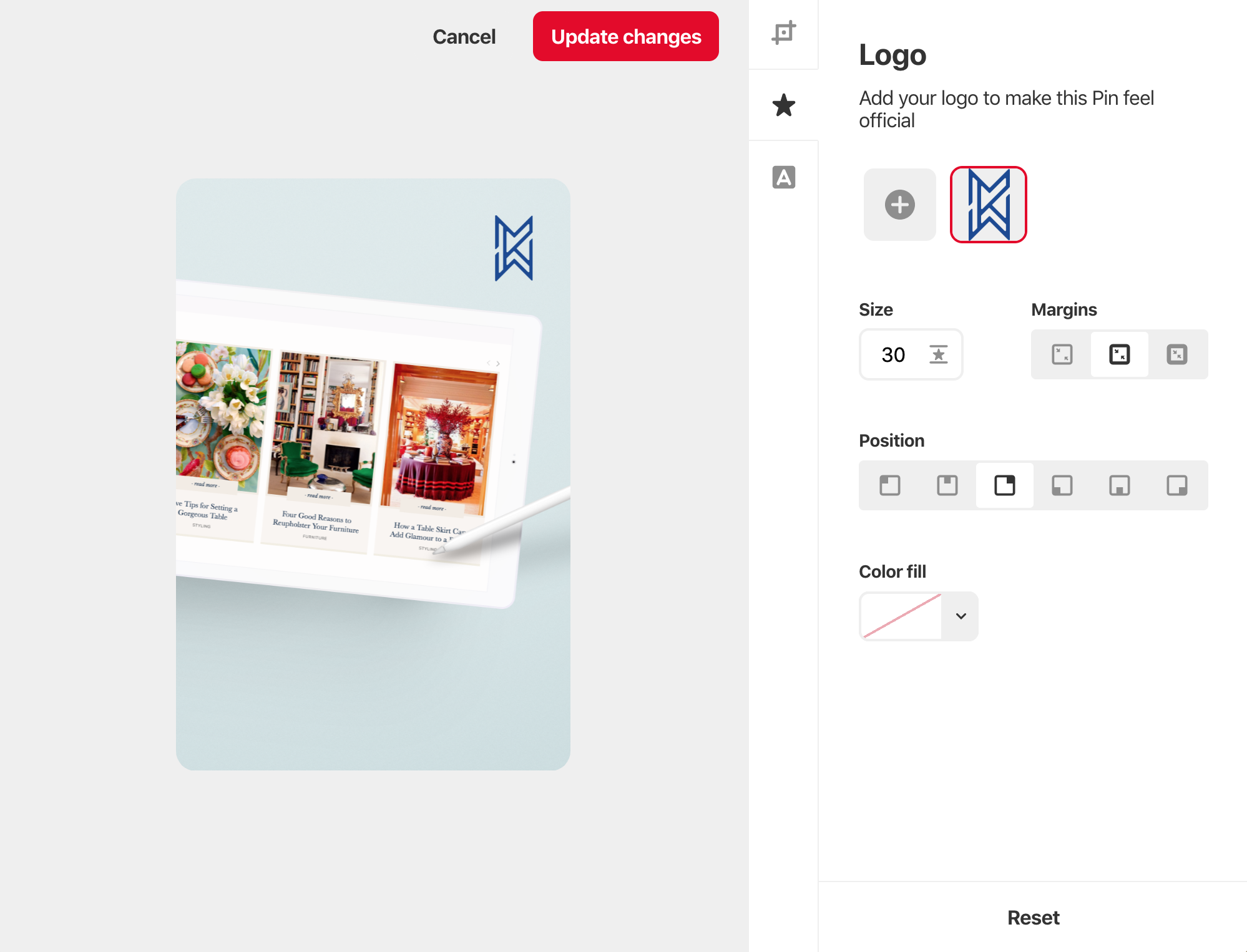 add your branding to pinterest graphics in pinterest