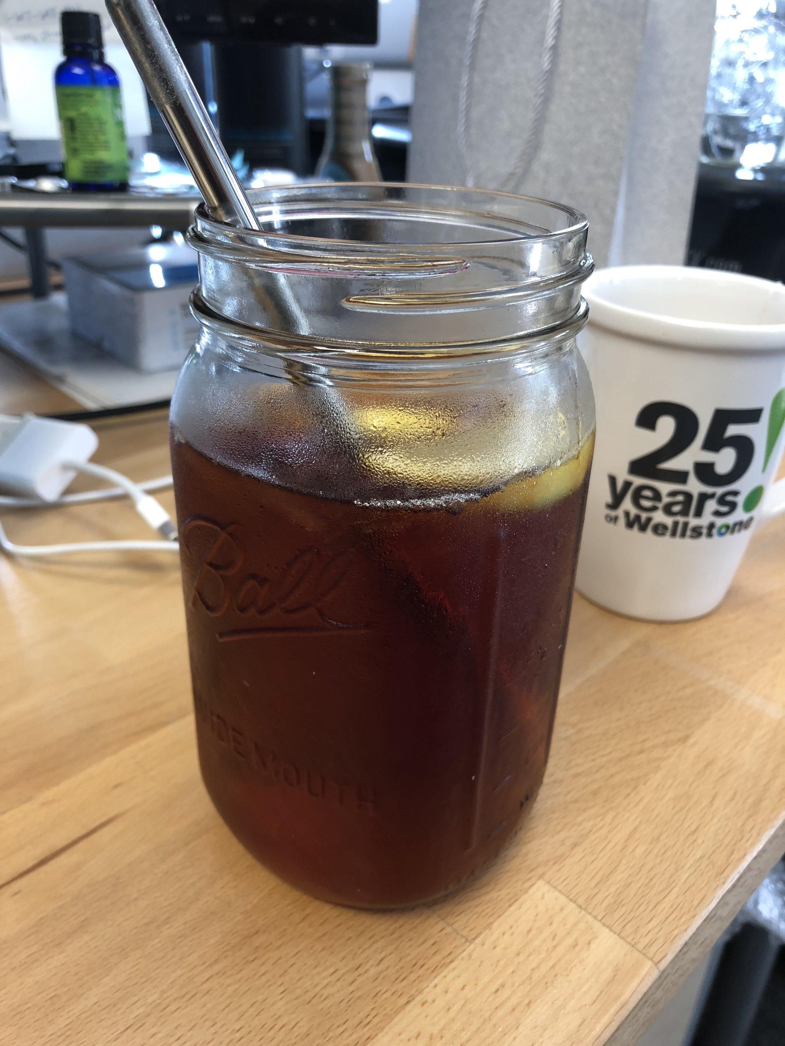 Diesel put my iced tea in my mason jar!
