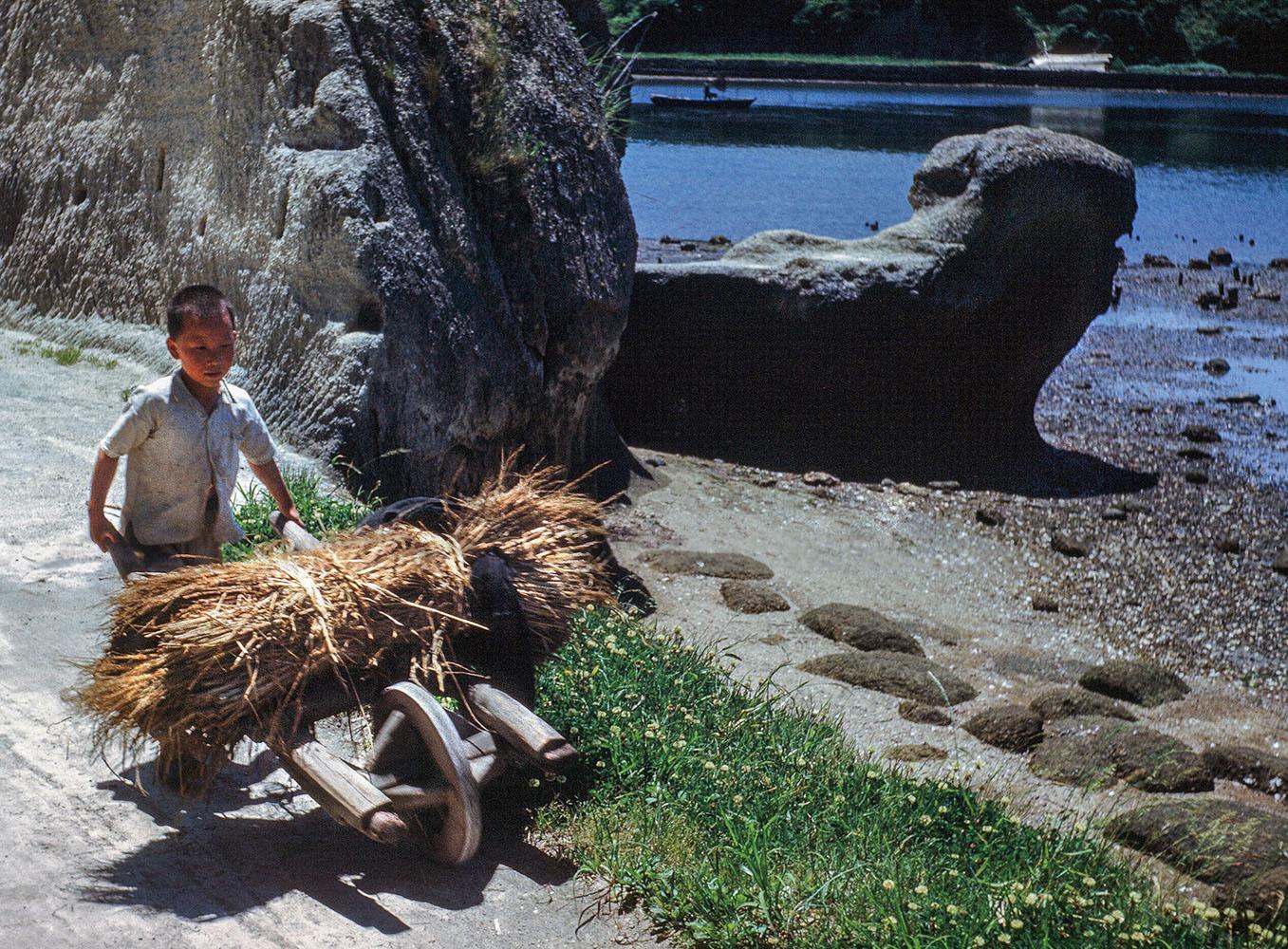 135- Miyato Jima, Boy Pushing Wheelbarrow
