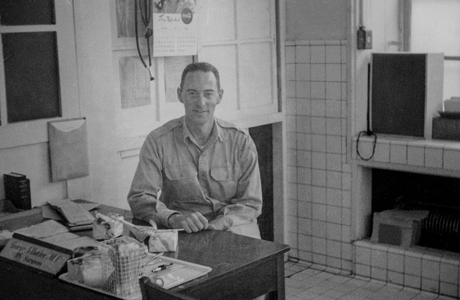151- George Butler in the Dispensary at Camp Matsushima
