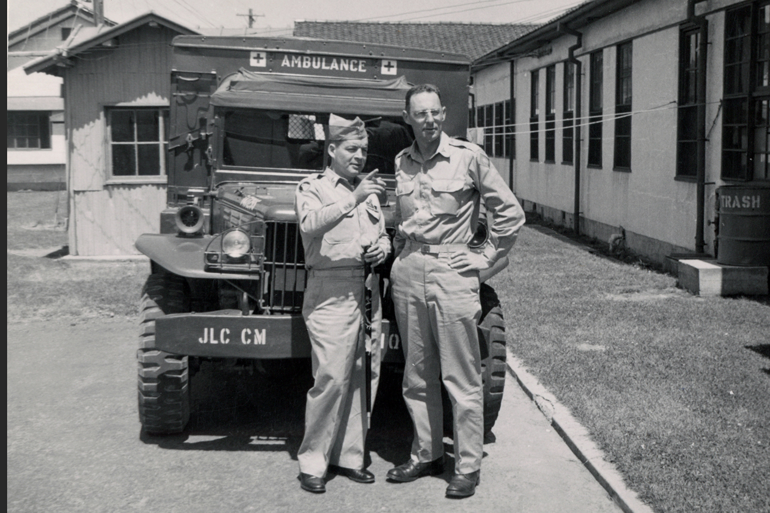 153- George Butler in front of Camp Ambulance