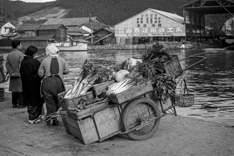 417-Kyukitakami River, Vegetable Cart on Shore