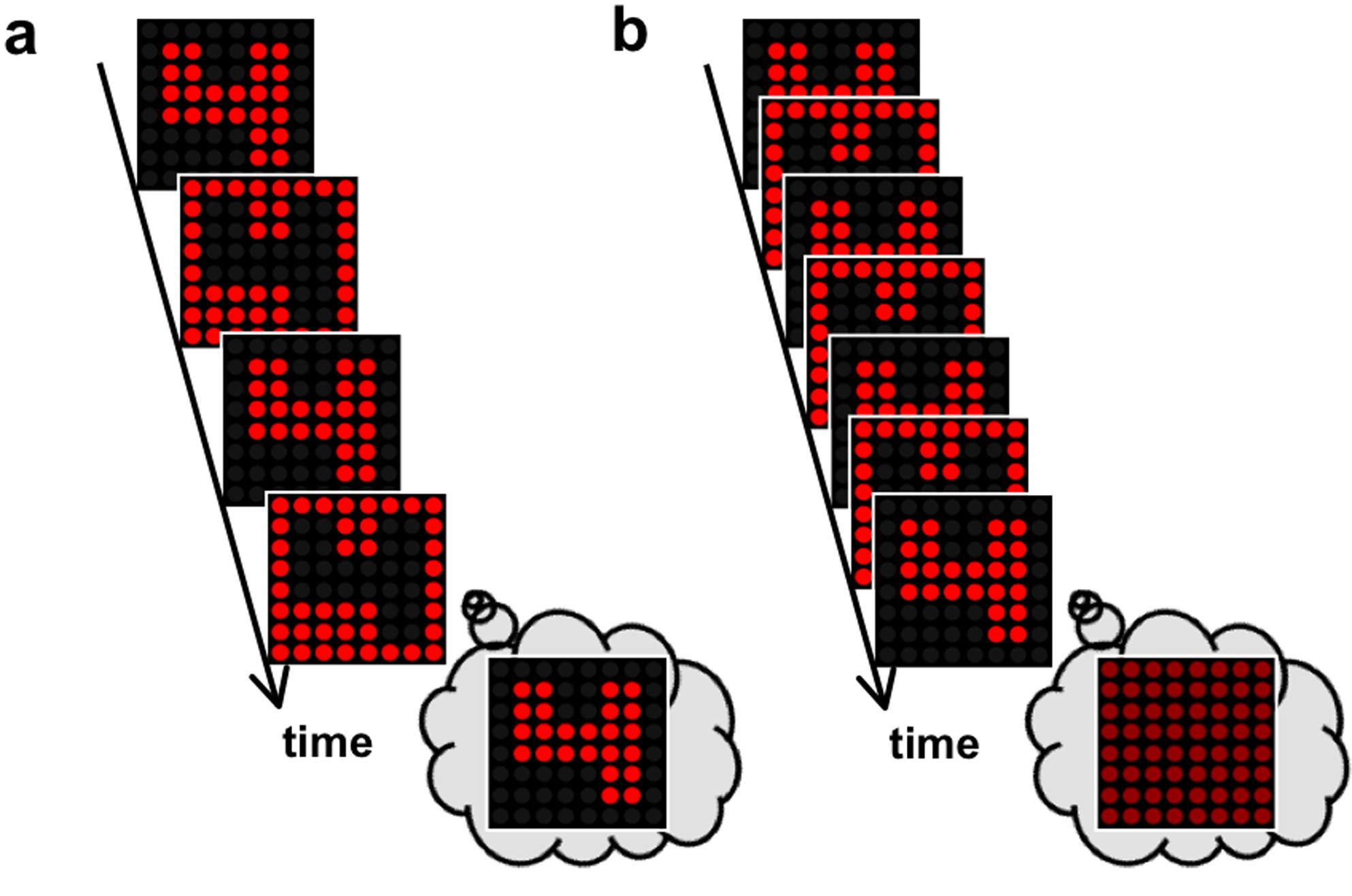 """(a) Wenn sich Bild und Negativ langsam abwechseln, können die Zahlen problemlos erkannt werden. (b) Wechseln sie schneller, verschmelzen Bild und Negativ zu einer einheitlichen Fläche und die Zahlen können nicht mehr erkannt werden. Aus  """"Does Time Really Slow Down during a Frightening Event?""""  von Chess Stetson, Matthew P. Fiesta, David M. Eagleman lizenziert durch  CC BY 4.0"""