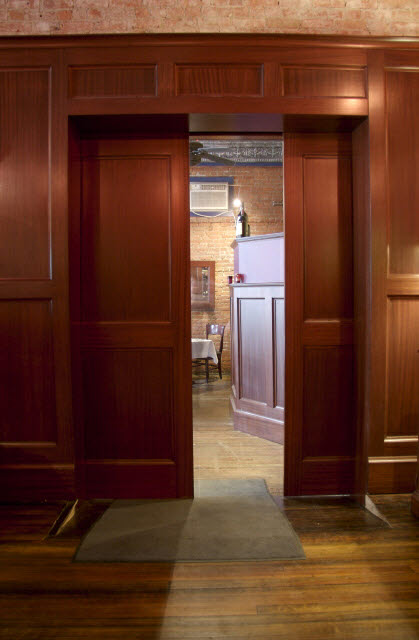 Quarter-Sawn Sapelle Hard Wood pocket door for restaurant