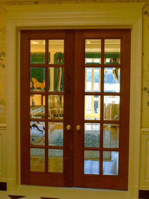 Mahogany French Doors with Beveled Glass