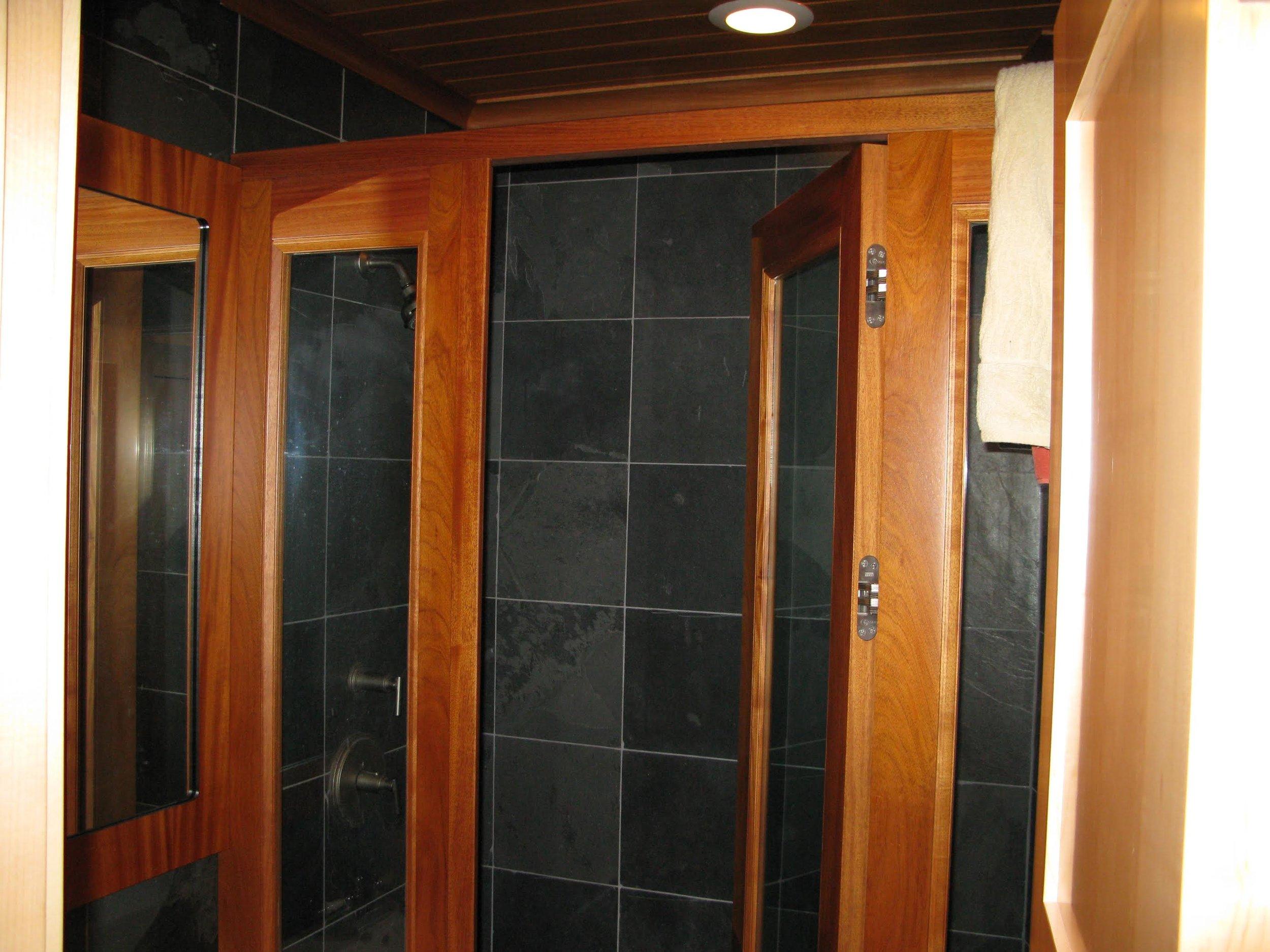 Mahogany Bathroom: ceiling, moulding, mirror frame & medicine cabinet