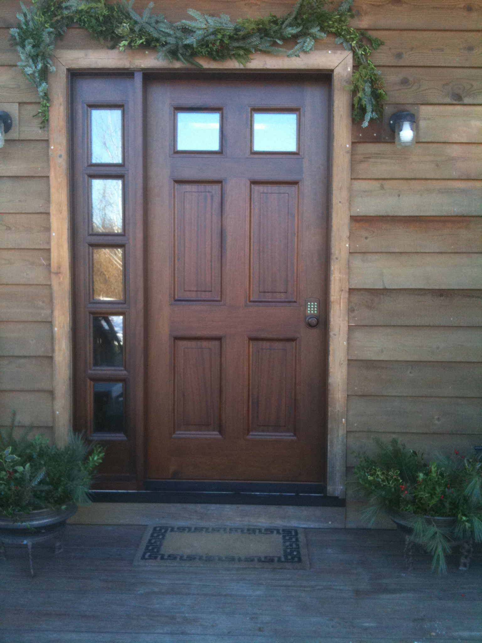 Stave-Core Mahogany Door with Side Lights