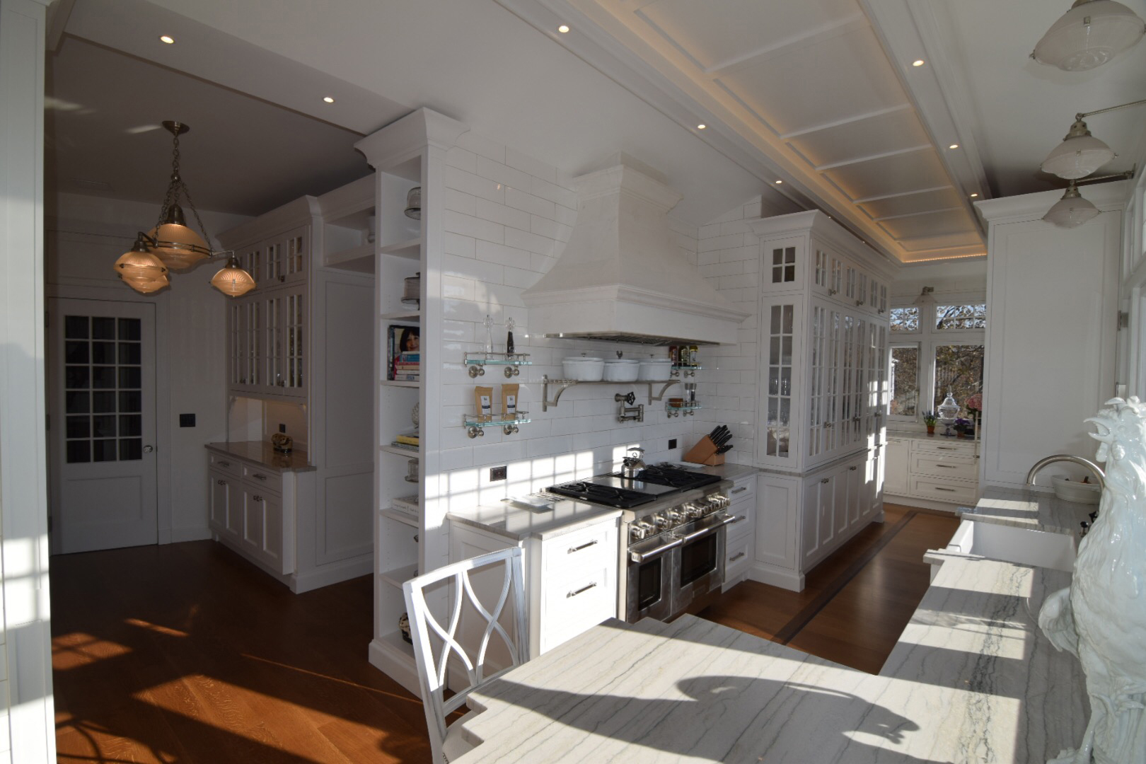 Custom cabinets with glass