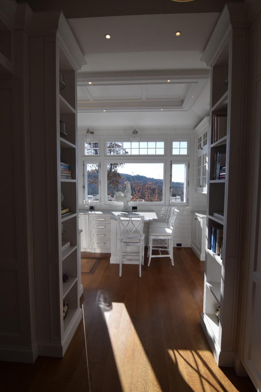 Custom Kitchen with Custom Book Shelving