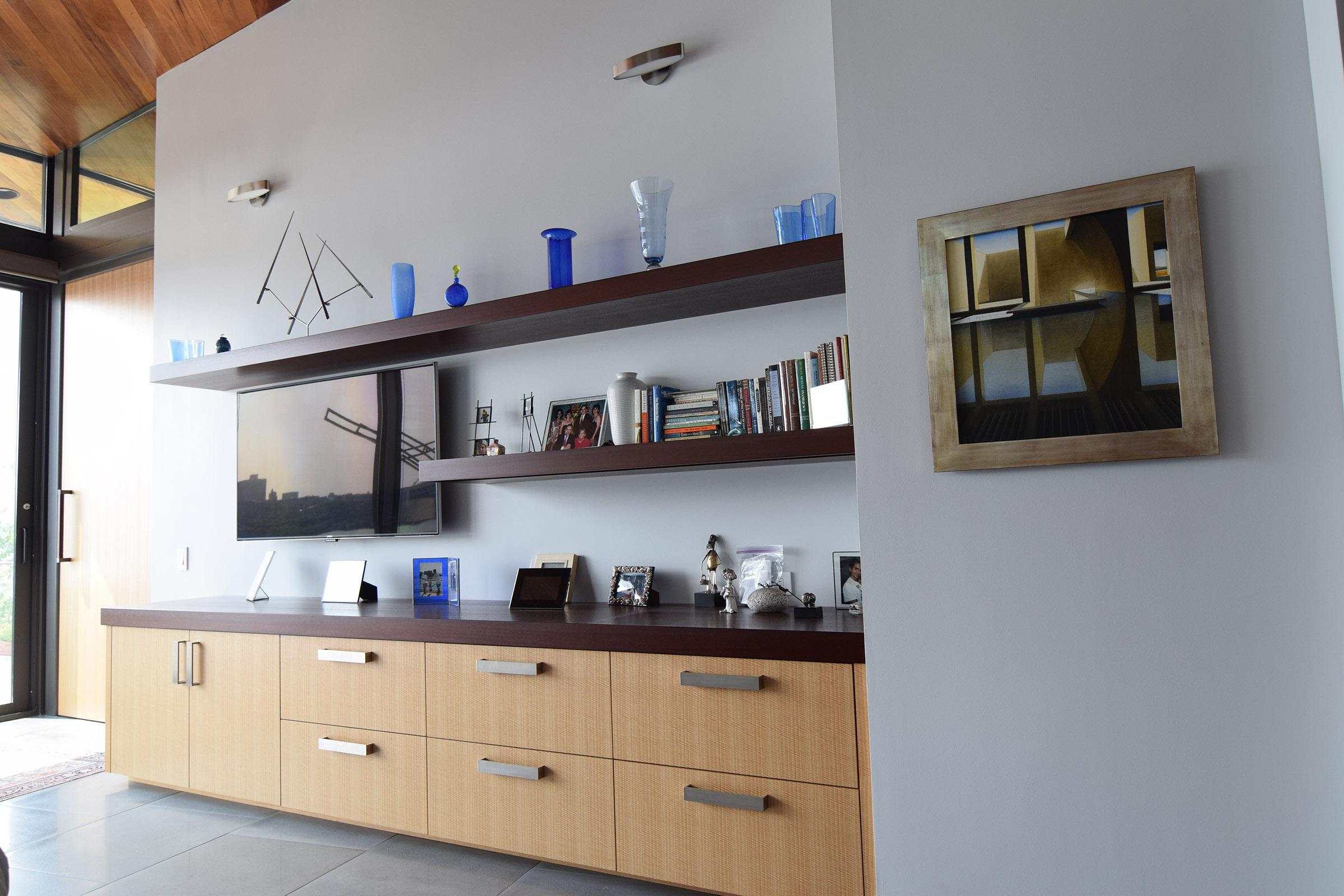Master Bedroom Custom Rift Anigre Drawers with Mahogany Counter & Shelves; Rift Anigre Pocket Door