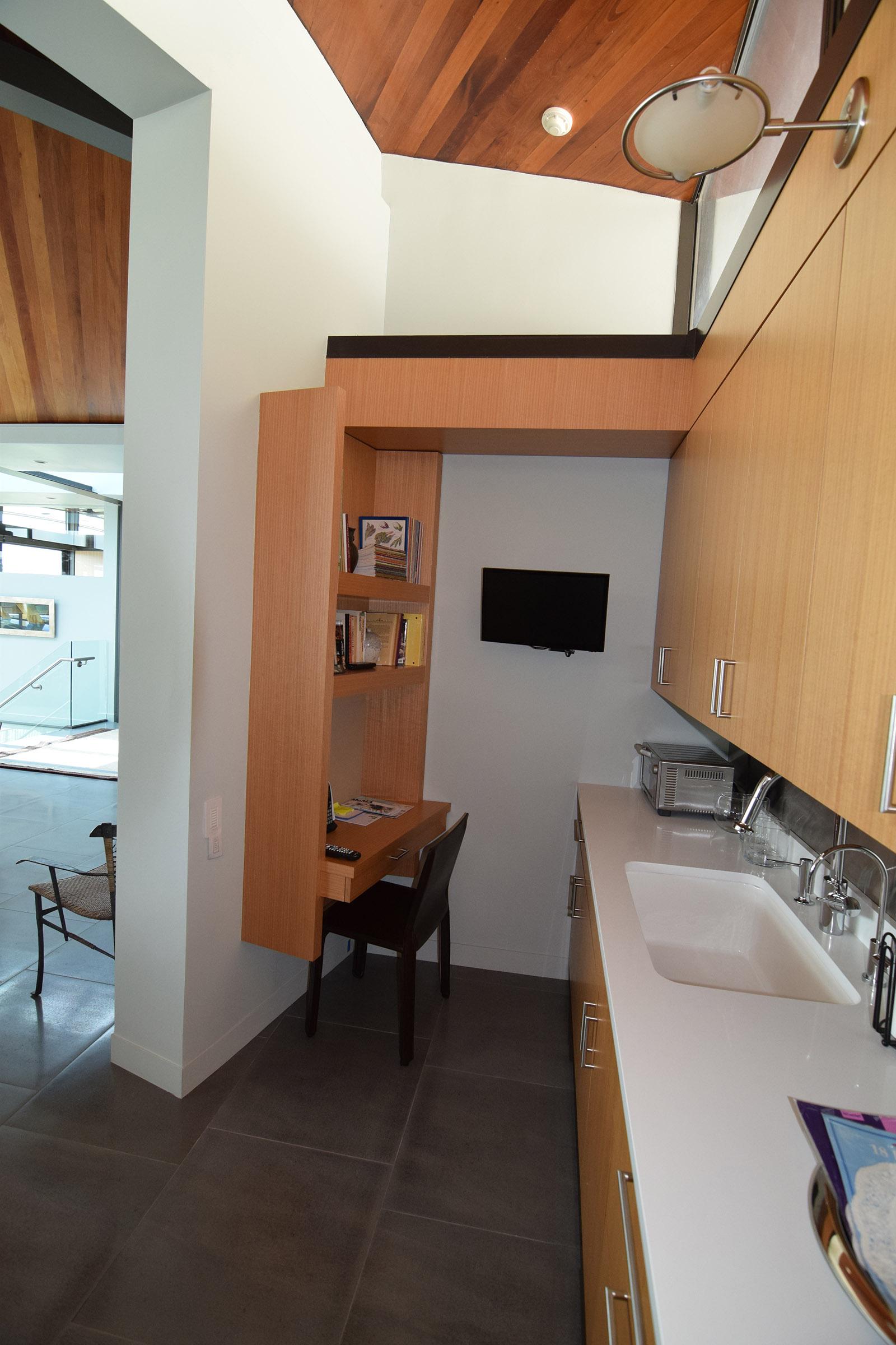 Custom Office Nook in the Kitchen, Rift Anigre