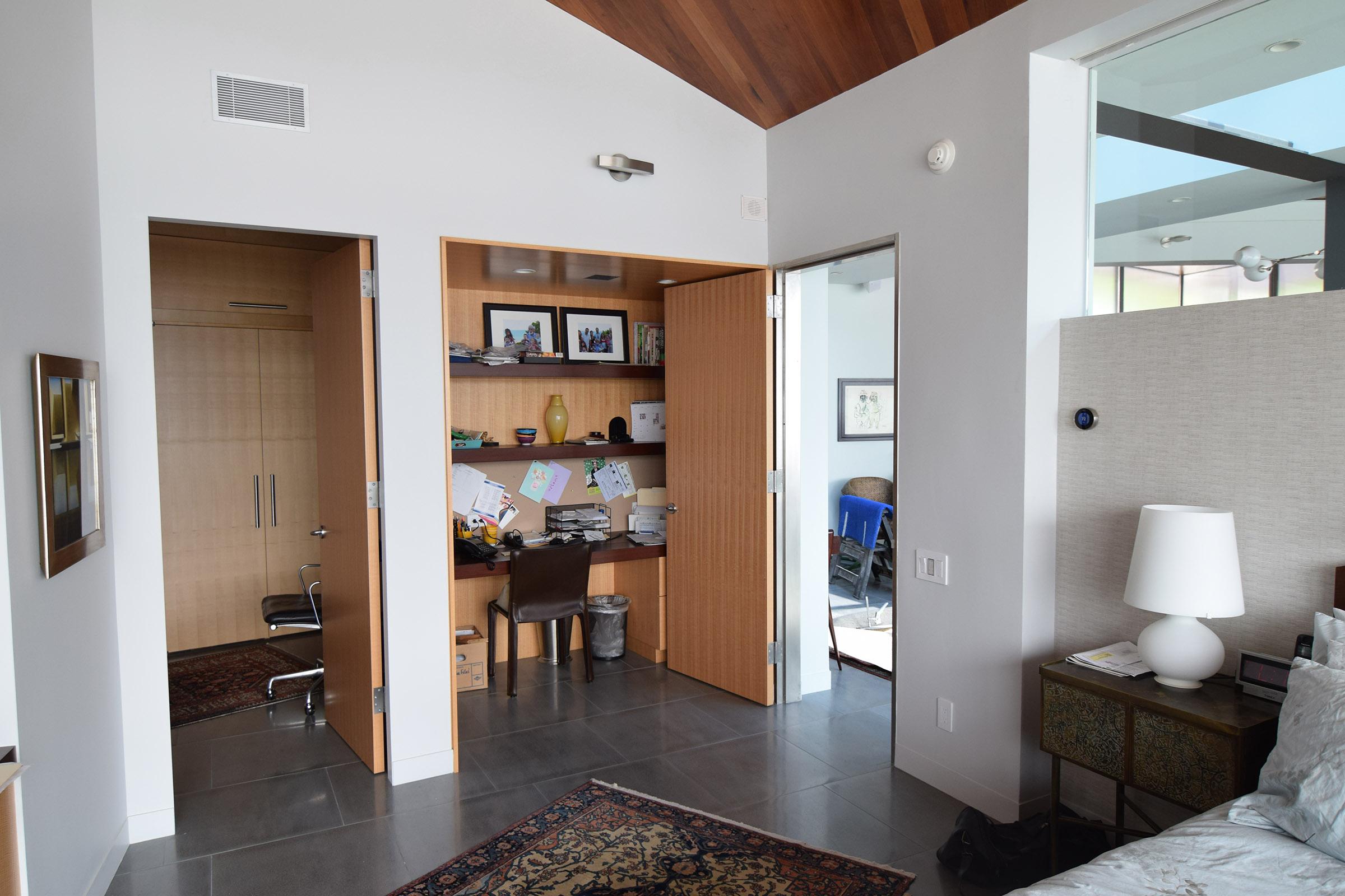 Custom Rift Anigre Bedroom Office Nook with Mahogany Shelving