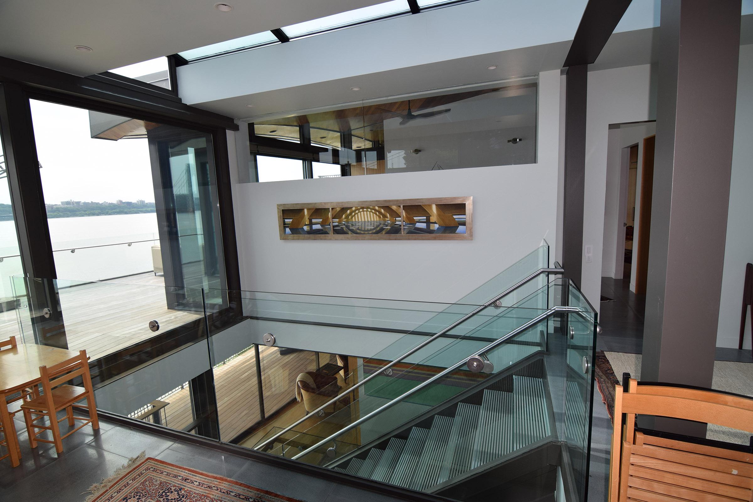 Upstairs view to open Rift Anigre Custom Pocket Door