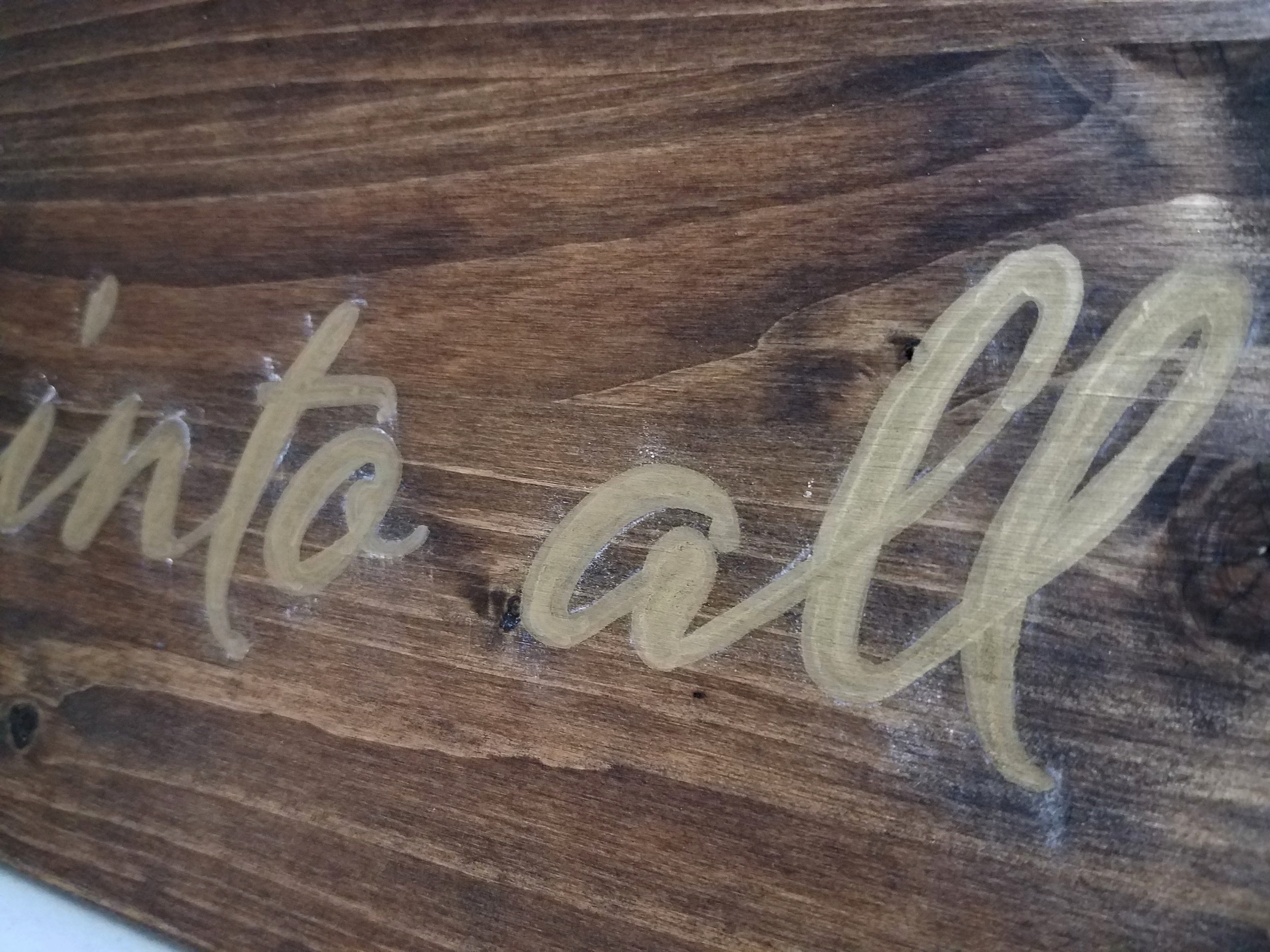 How to Make Your Own Painted Wooden Sign: Before Chalk Wipe Off