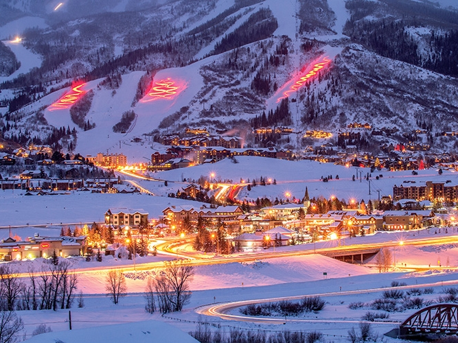 Steamboat Resort and Town lit up for another night celebrating champagne powder