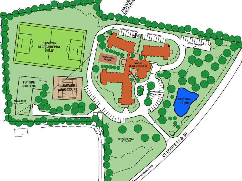 Bromley Manor's proposed site is nestled into an existing recreational area