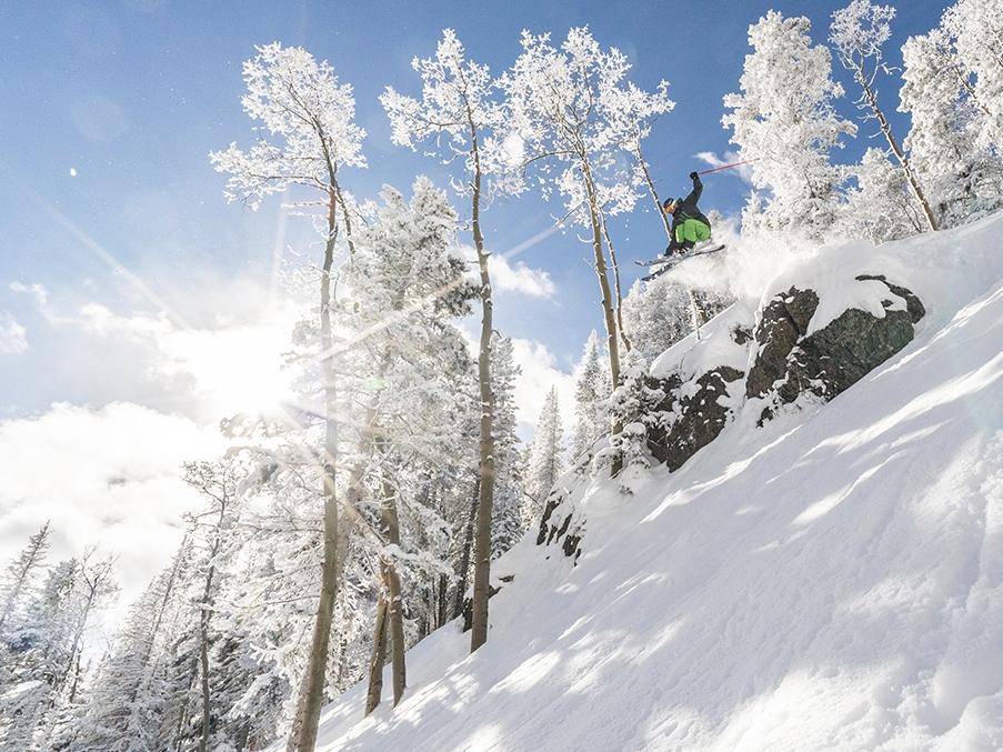 Powder combines with sunshine in the Taos' Sange de Cristo range