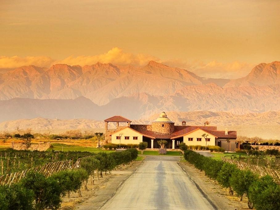 La Estancia de Cafayate's clubhose overlooks vines of Malbec and Torrontes