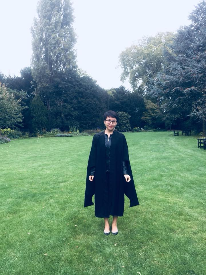 Robes! Now... where's my wand? (Right after Matriculation Photo at Christ's College. This was in the fellow's garden. There's apparently a tree here that was planted for John Milton!)