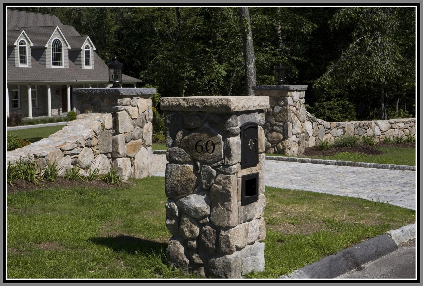 Stone mailbox, Column, cobblestone apron, curb and wall
