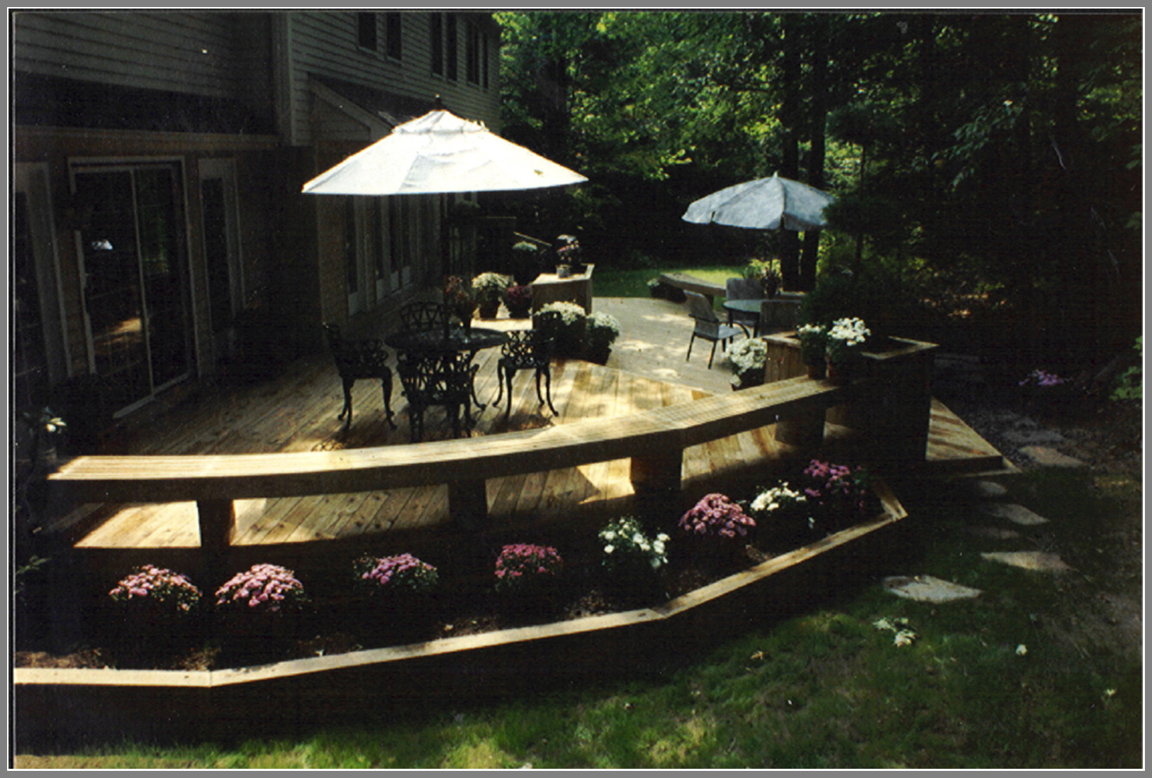 Deck with bench and planters