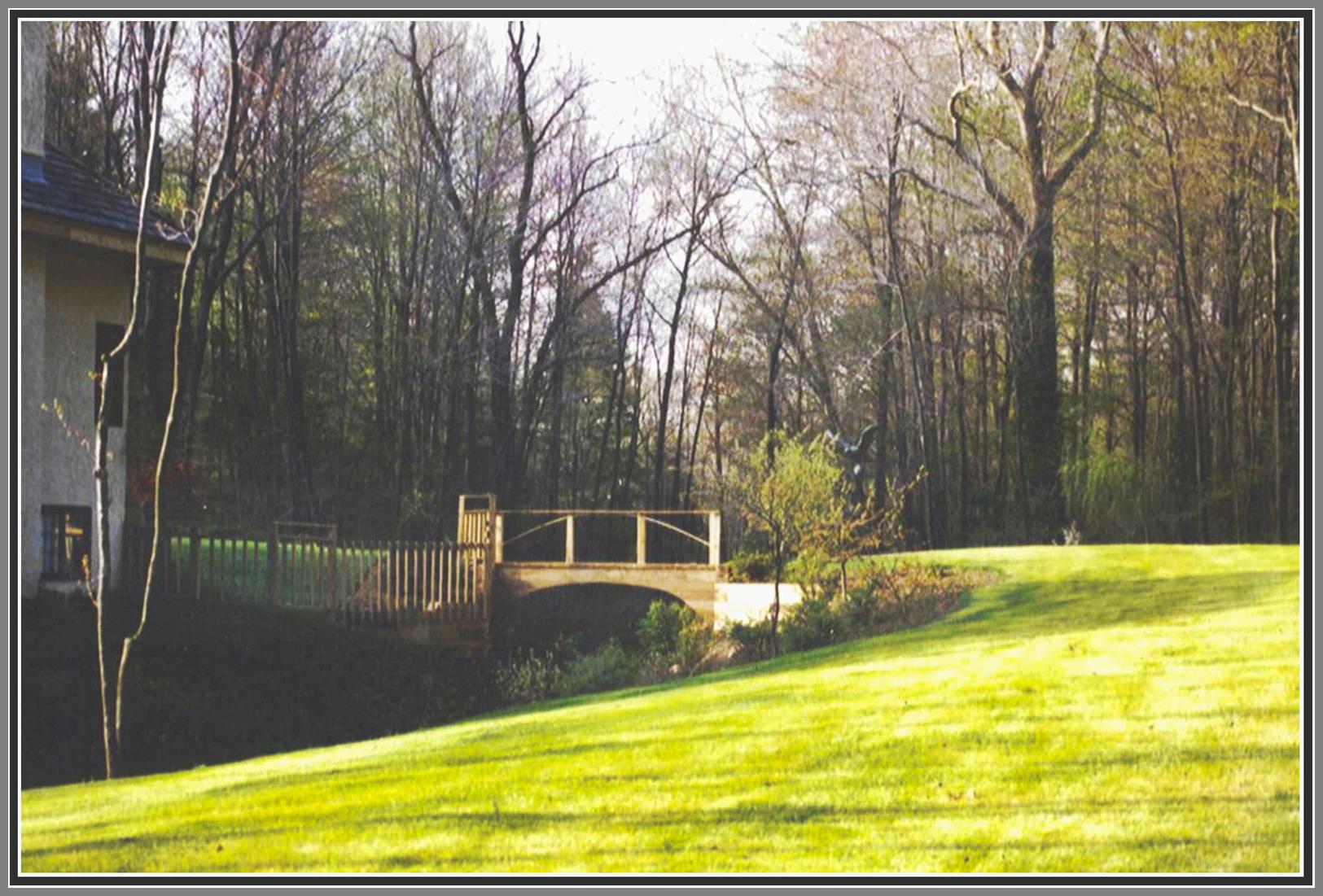 Wood bridge over brook