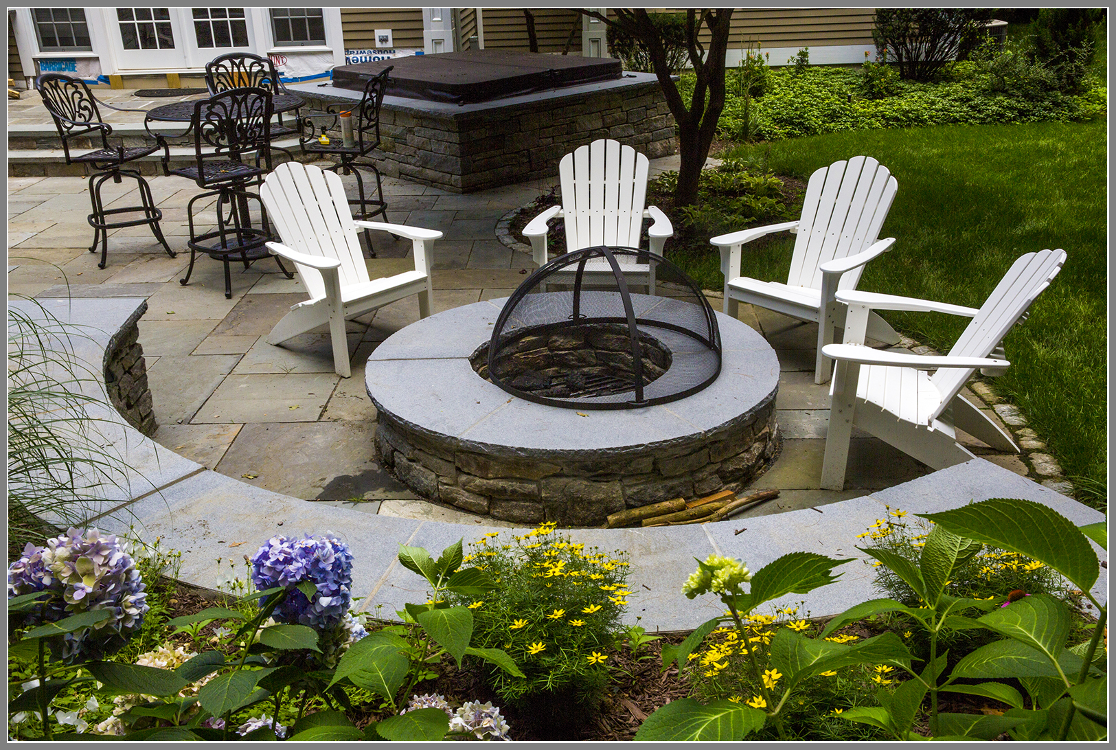 Stone Fire Pit with sitting wall