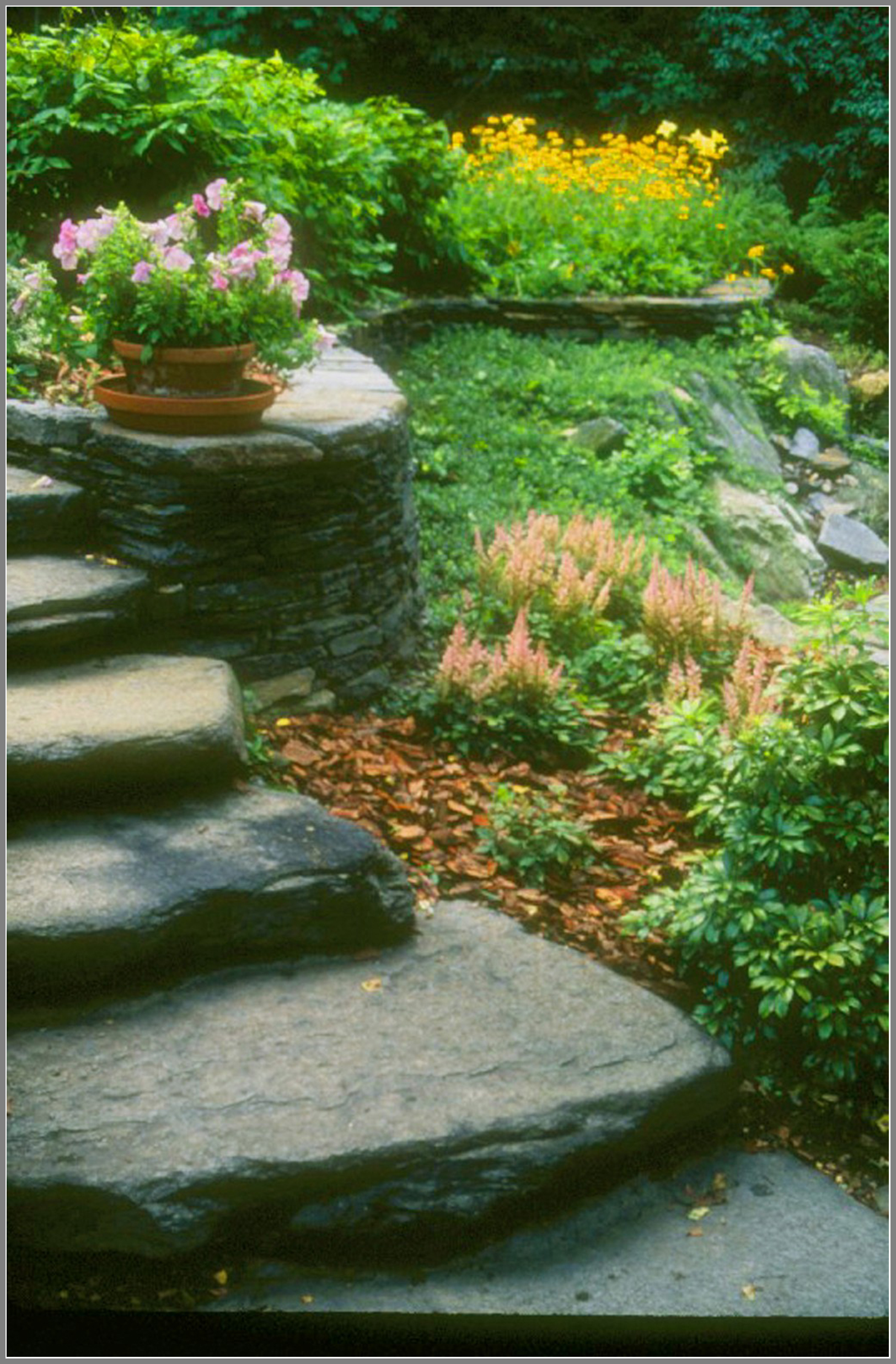 Natural slab steps and gardens